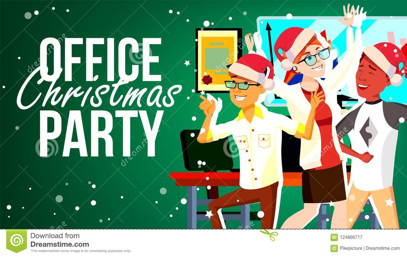 Christmas Party Pictures Clip Art.Christmas Party In Office Vector Santa Hats Friends In Office