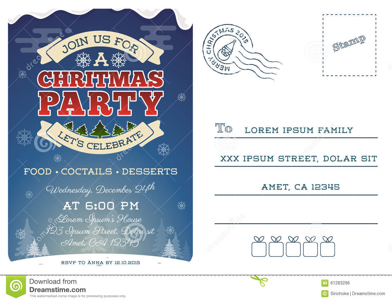 christmas party postcard invitation template stock vector illustration of background emblem. Black Bedroom Furniture Sets. Home Design Ideas