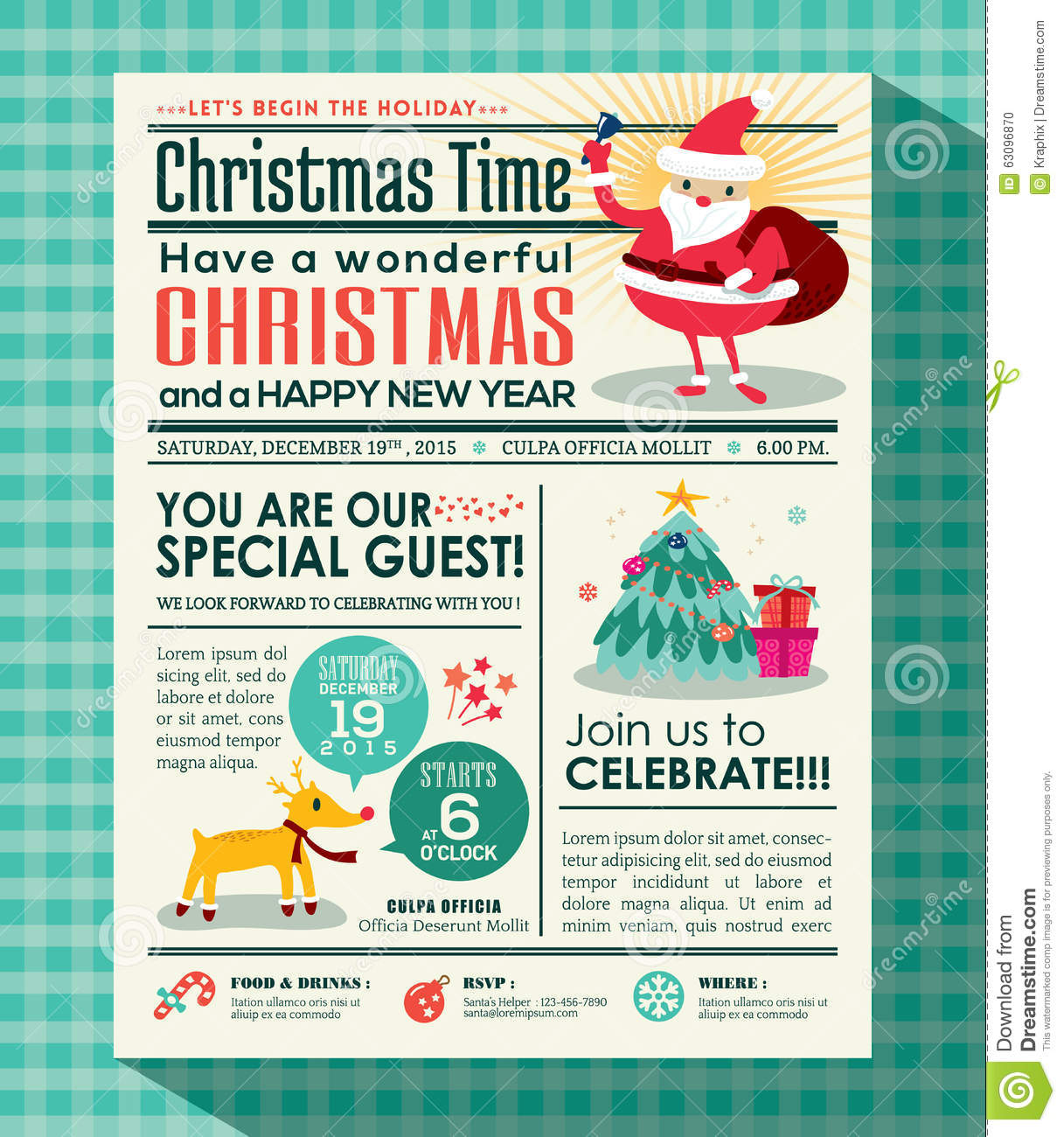 Christmas Party Poster Background In Newspaper Style Stock ...