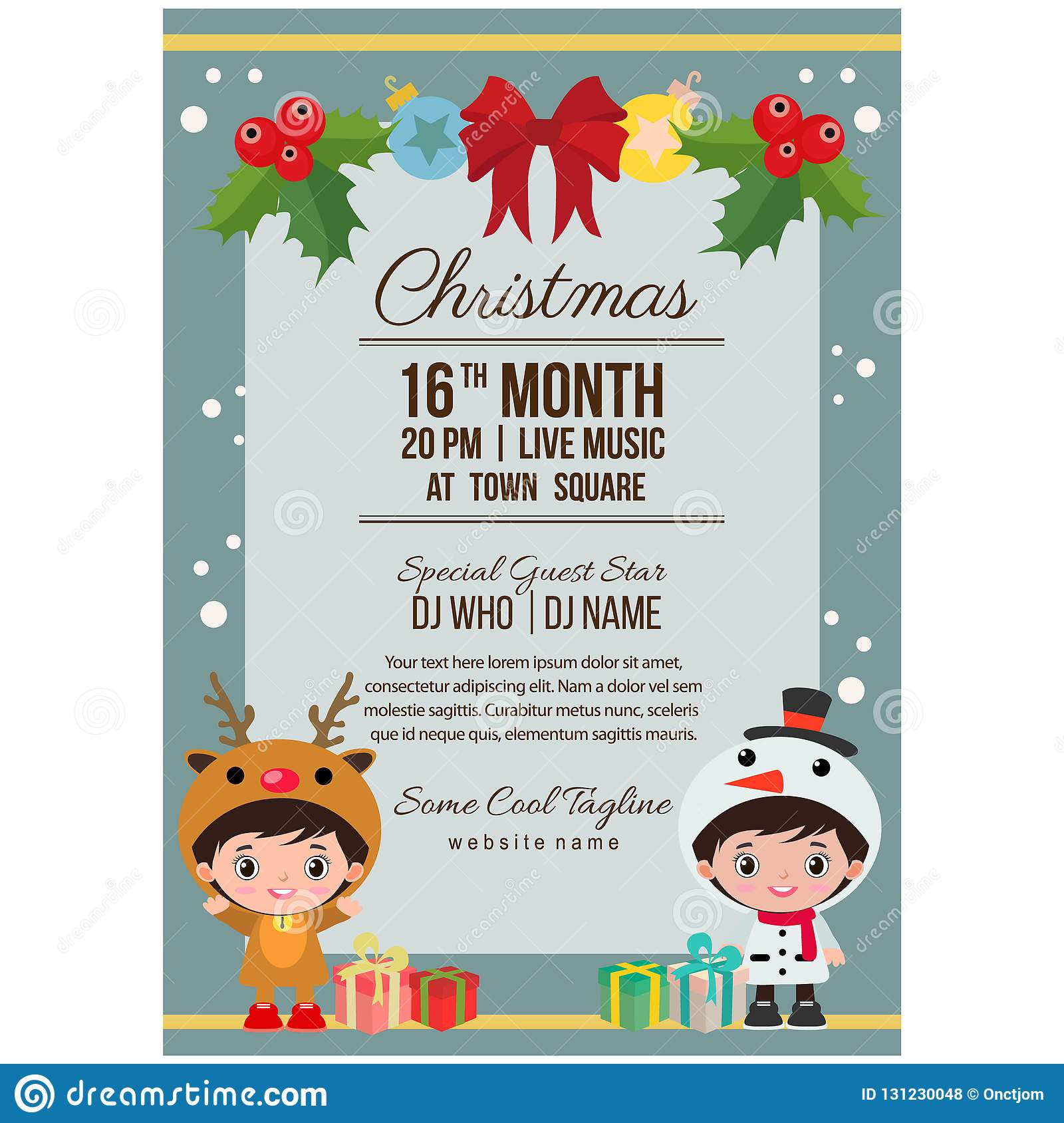 Cute Christmas Party.Cute Christmas Party Poster Costume Kids Reindeer Snowman