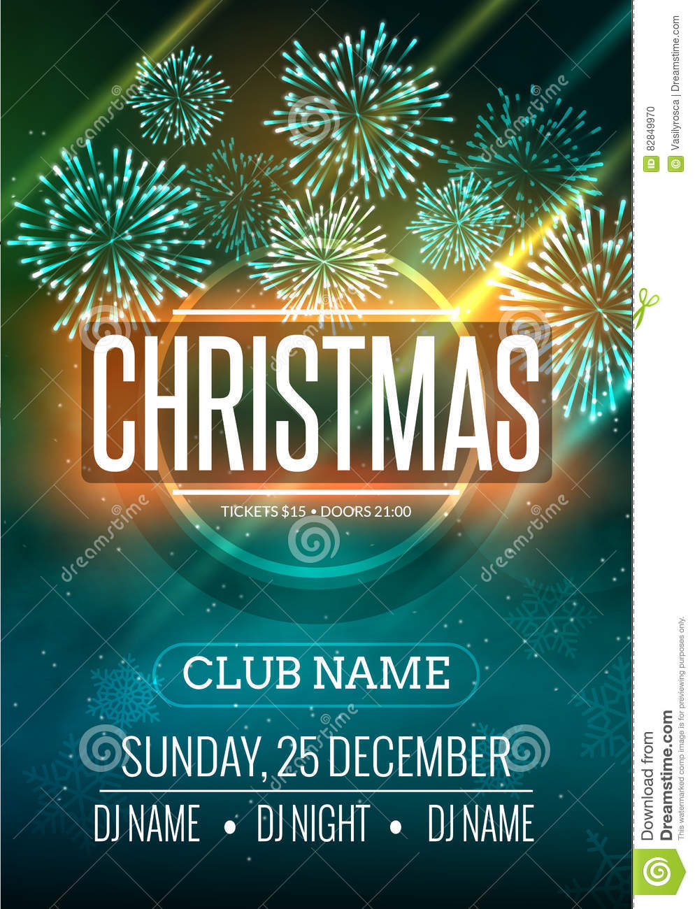 christmas party poster design with fireworks light new year disco flyer template