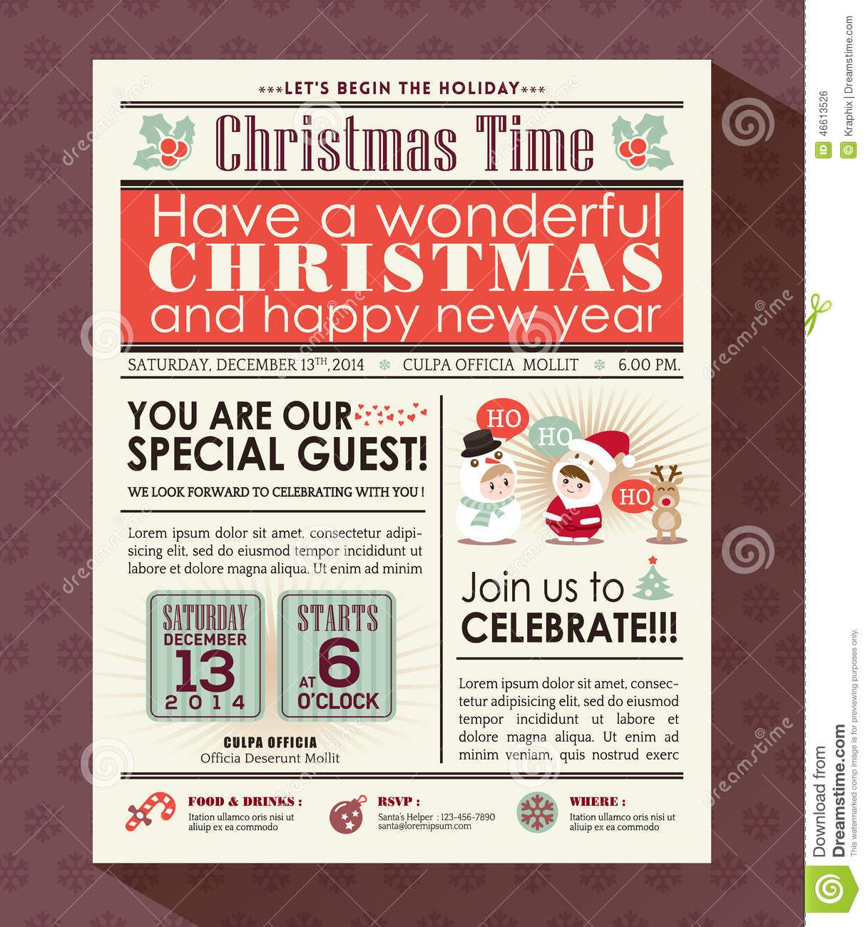 Stock Vector: Christmas party poster invite background in newspaper ...