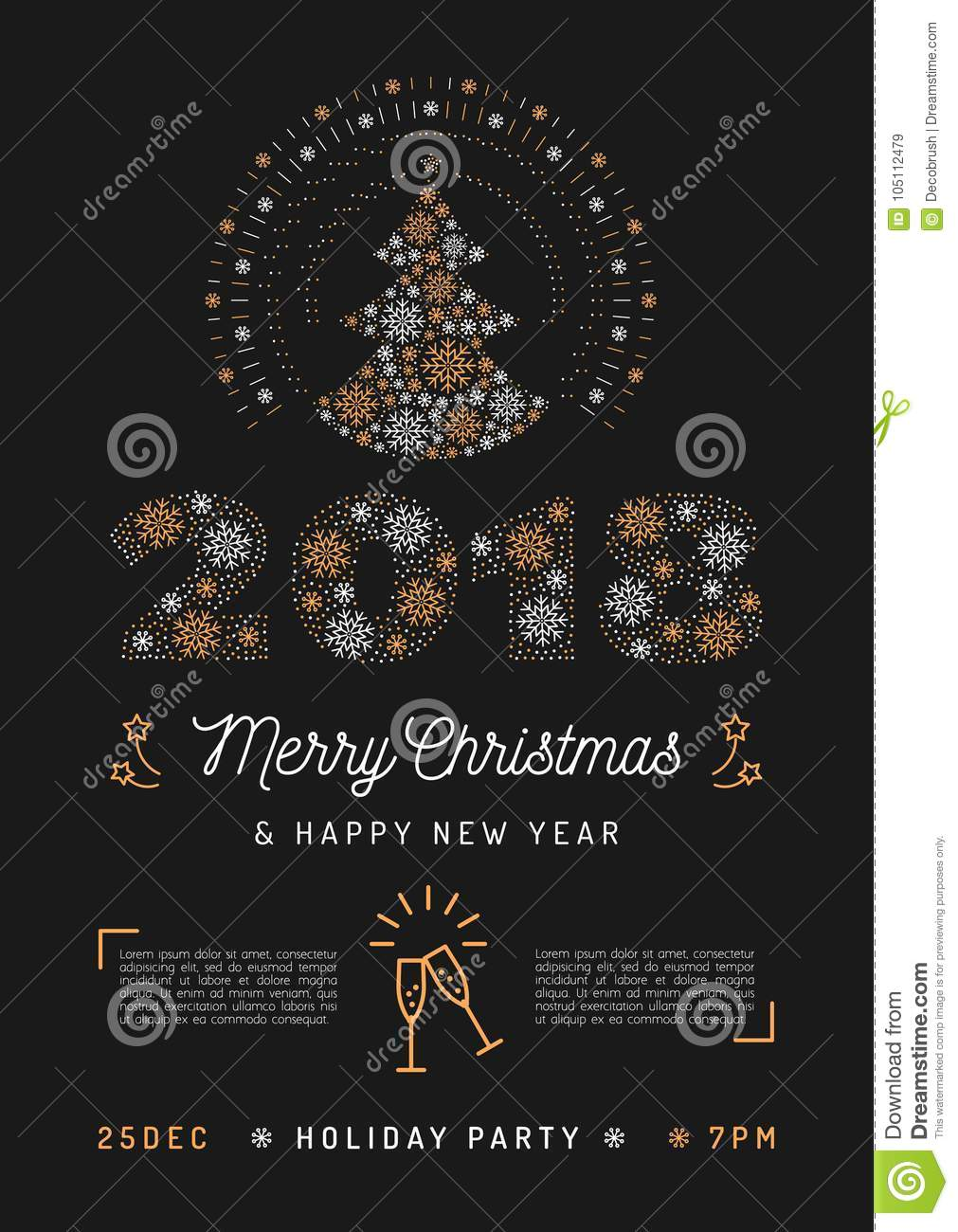 christmas party poster and new year 2018 card christmas tree and number 2018