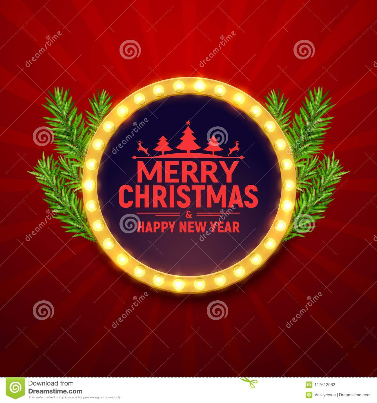 christmas party poster with retro light frame sign neon retro party