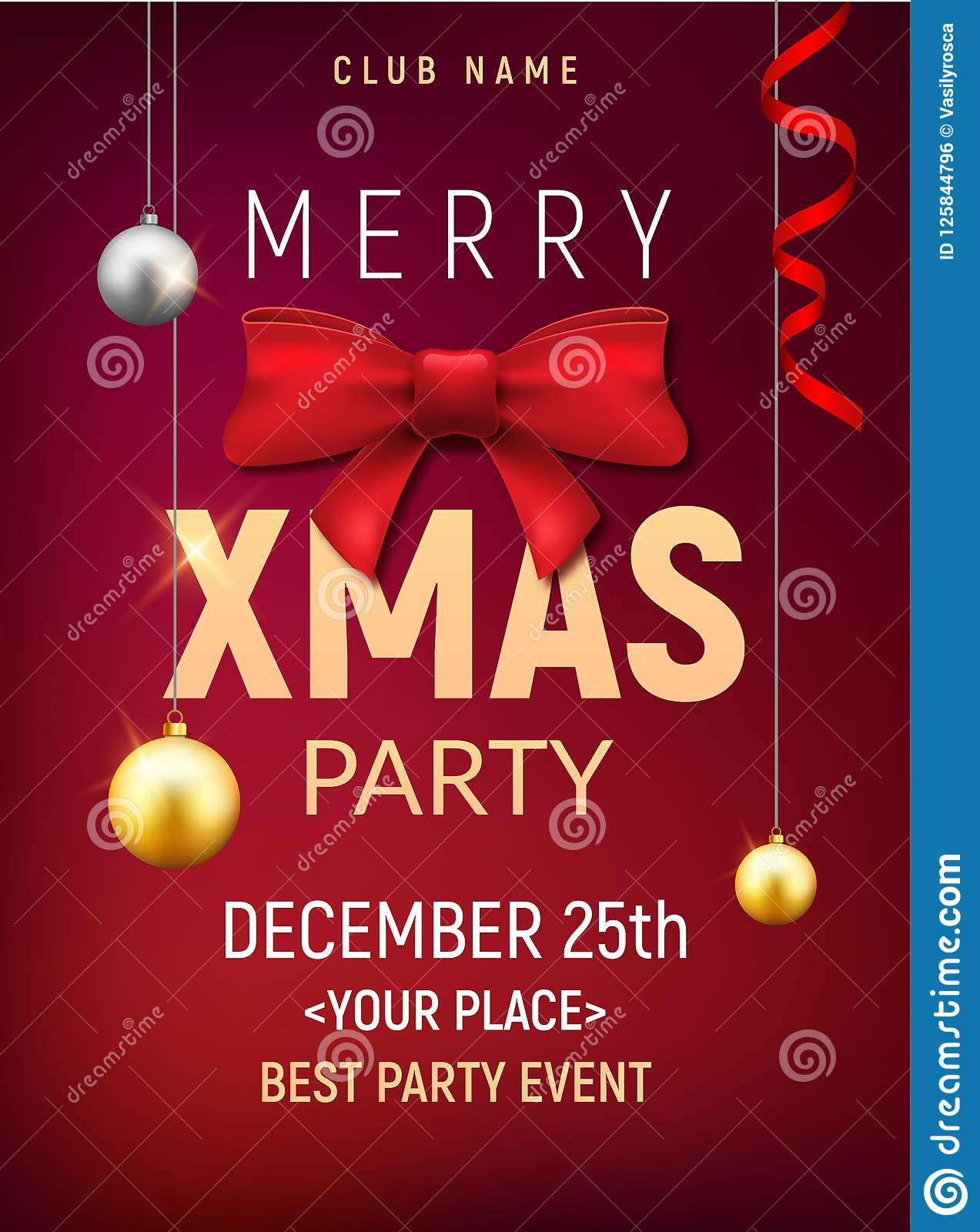download christmas party poster template christmas gold balls and red bow flyer decoration invitation banner