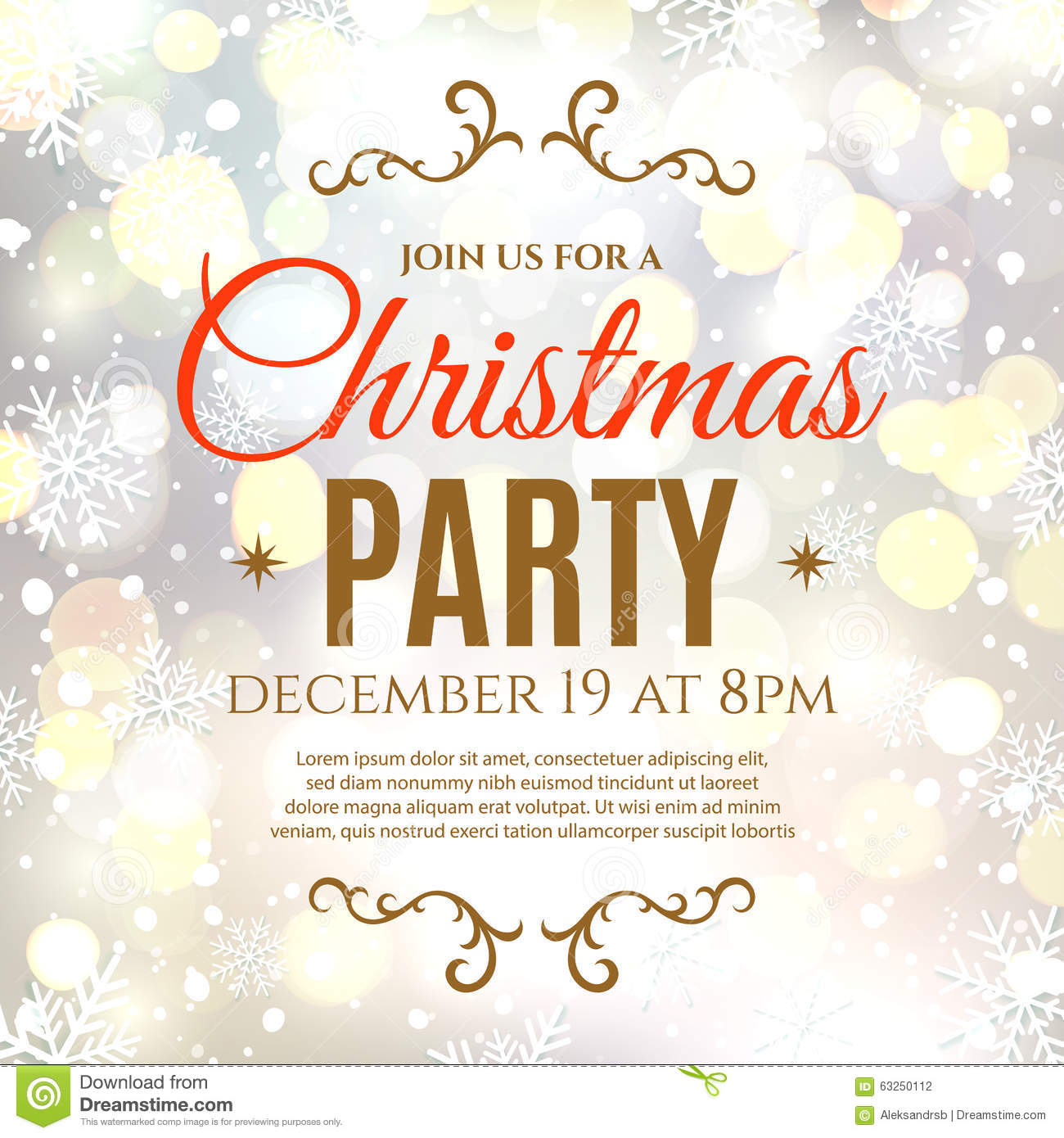 christmas party poster template stock vector illustration of