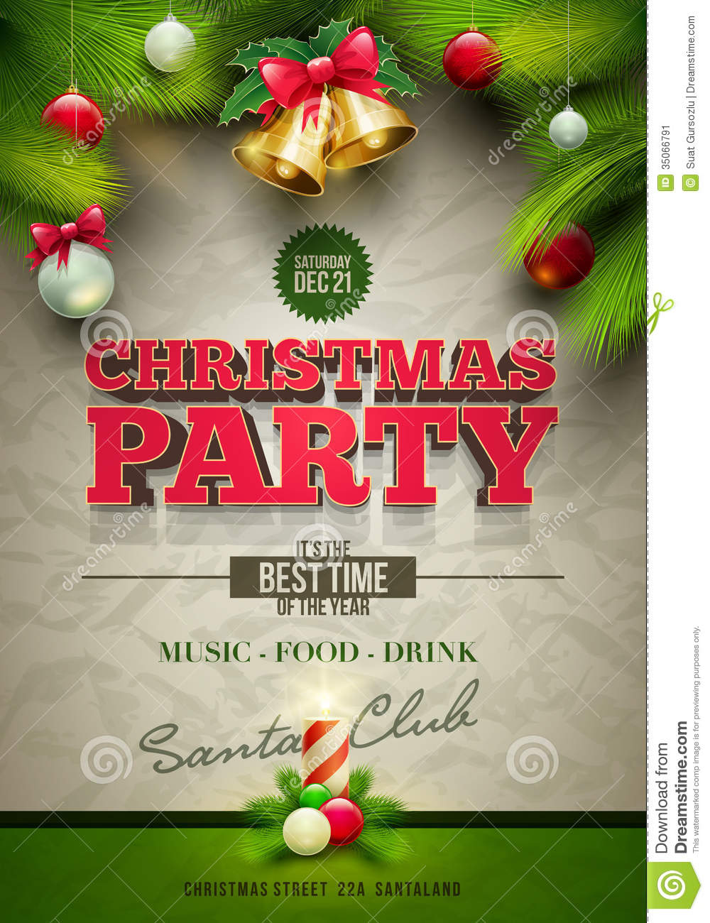 christmas party poster stock vector illustration of greeting 35066791