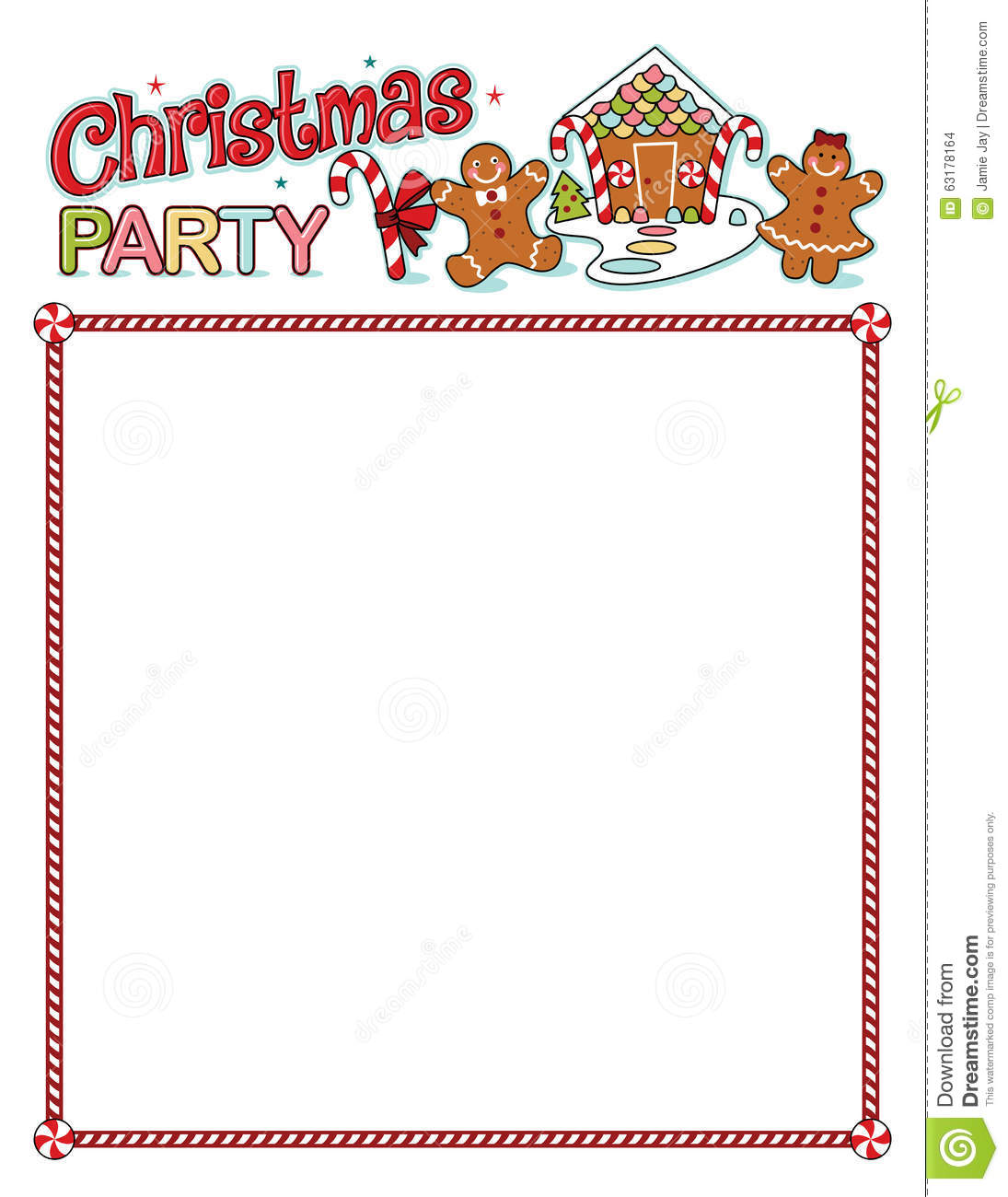 Christmas Party Printout With Border Stock Vector - Illustration of ...
