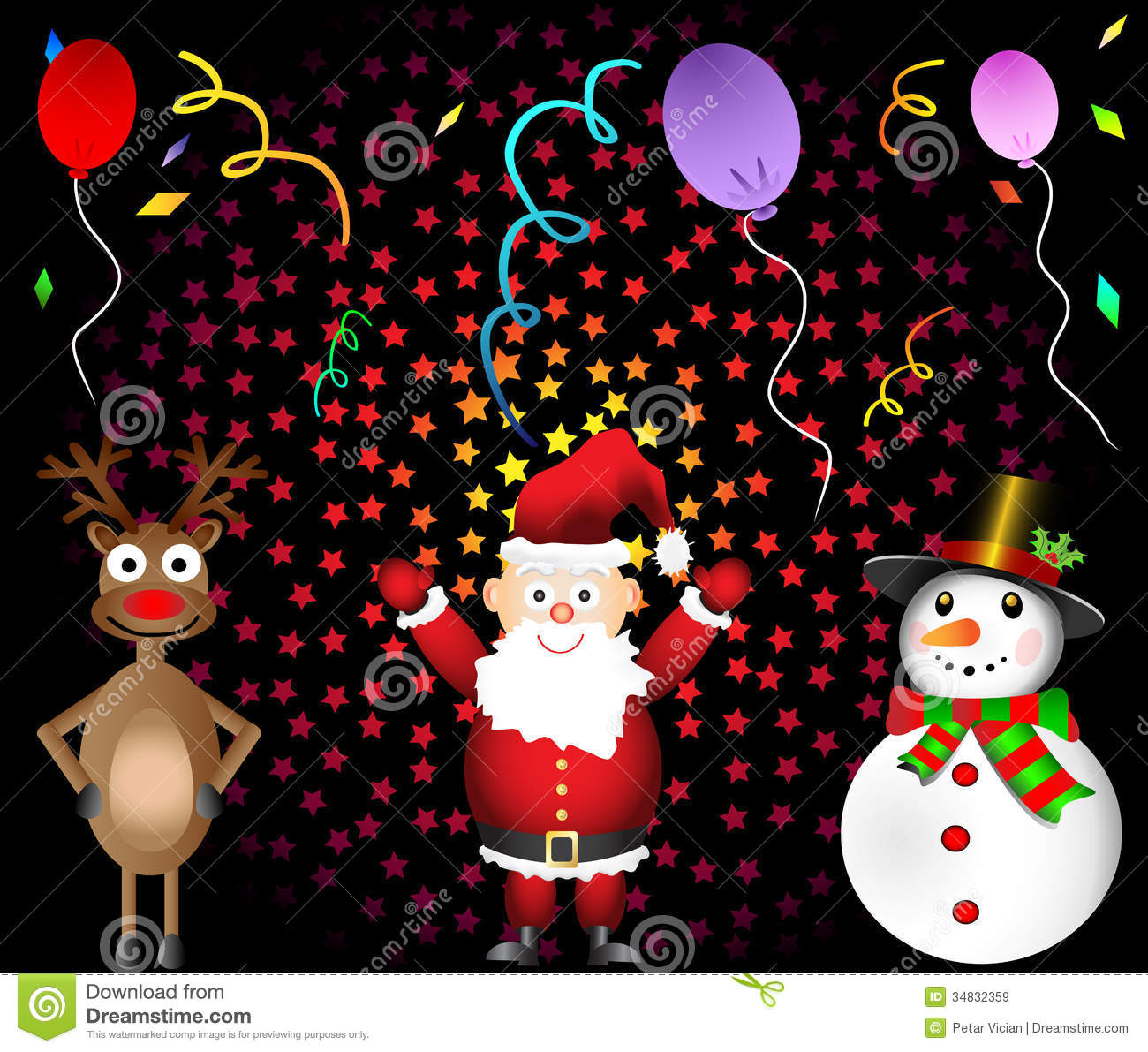 Christmas Party Santa Claus Red Nosed Reindeer And Royalty Free Stock ...
