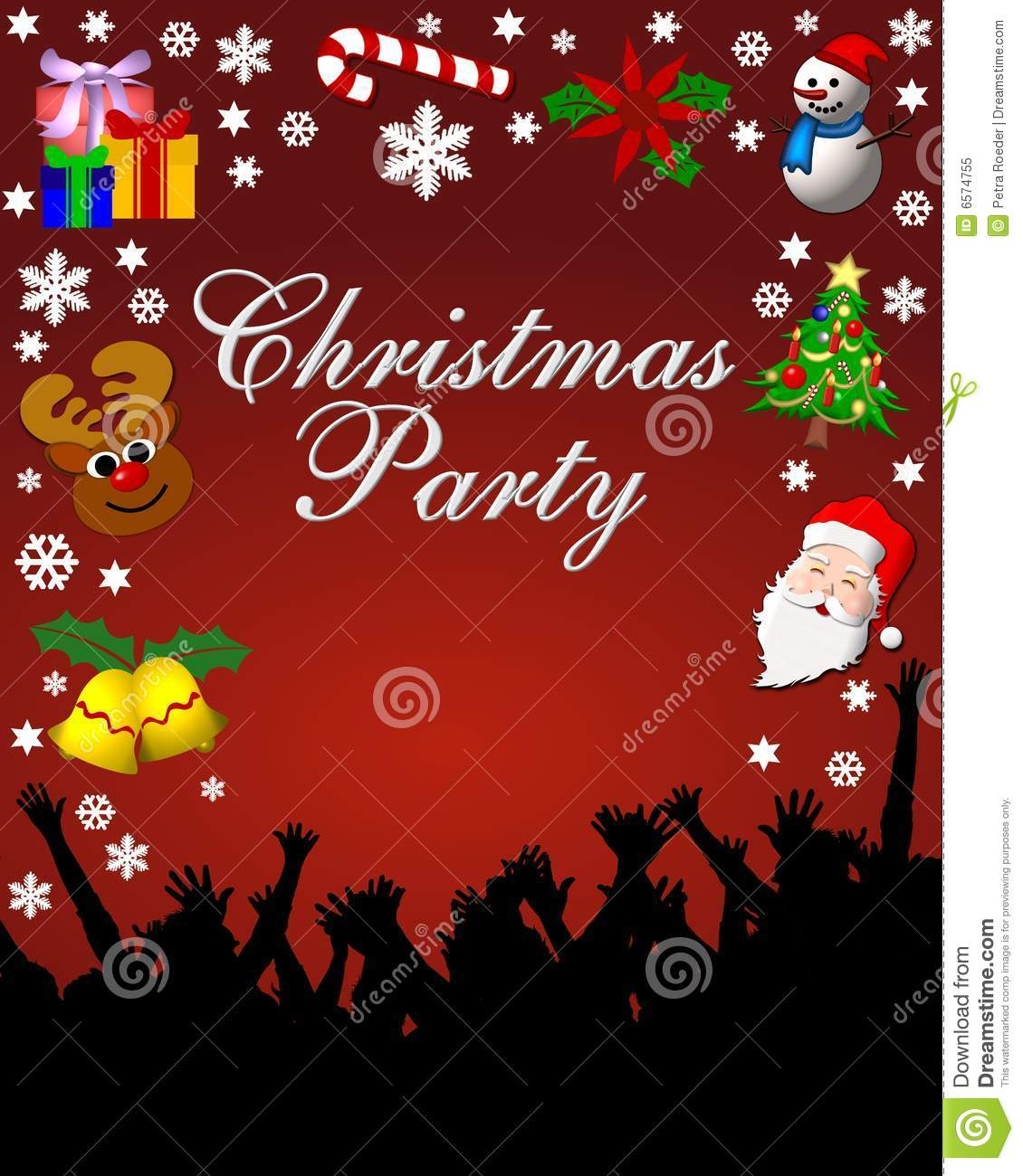 Christmas party stationary with holiday graphics