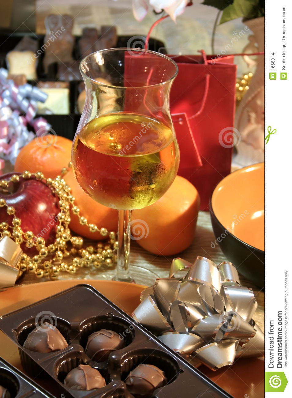 Download Christmas party table stock photo. Image of cocktail, candles - 1666914