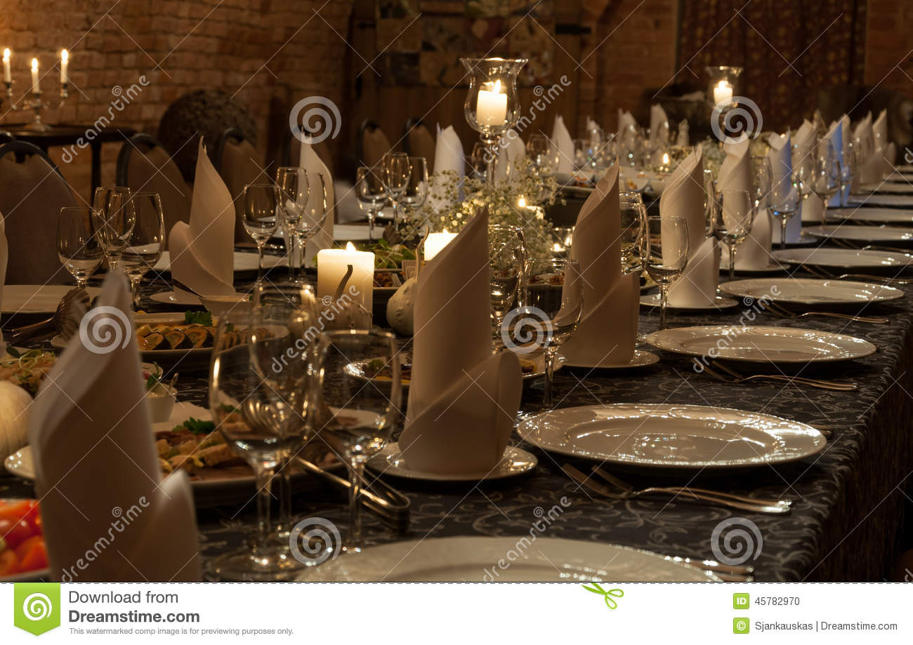 Christmas Party Table Stock Photo Image 45782970