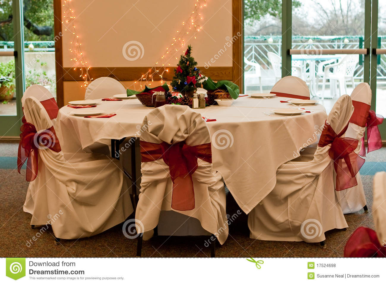 Christmas Party Table Setting Stock Photo Image Of Reception