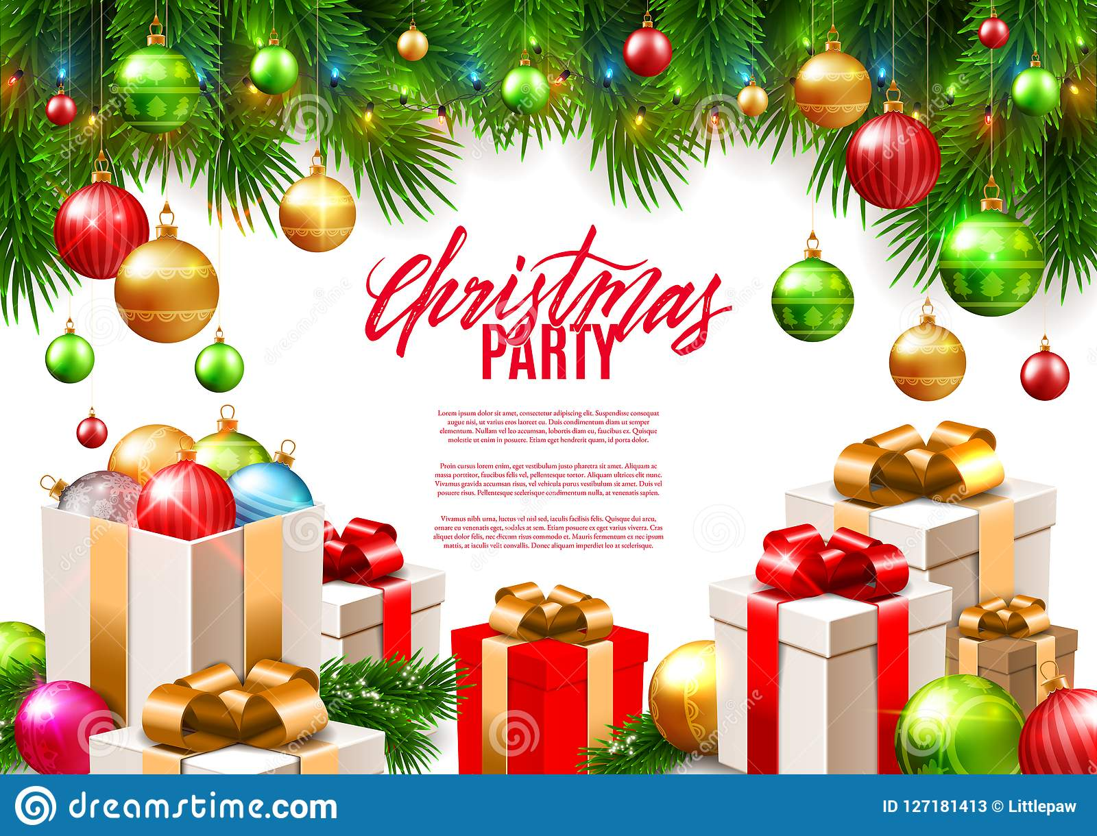 Colorful Christmas Background Design.Christmas Patry Poster Background Design Decorative