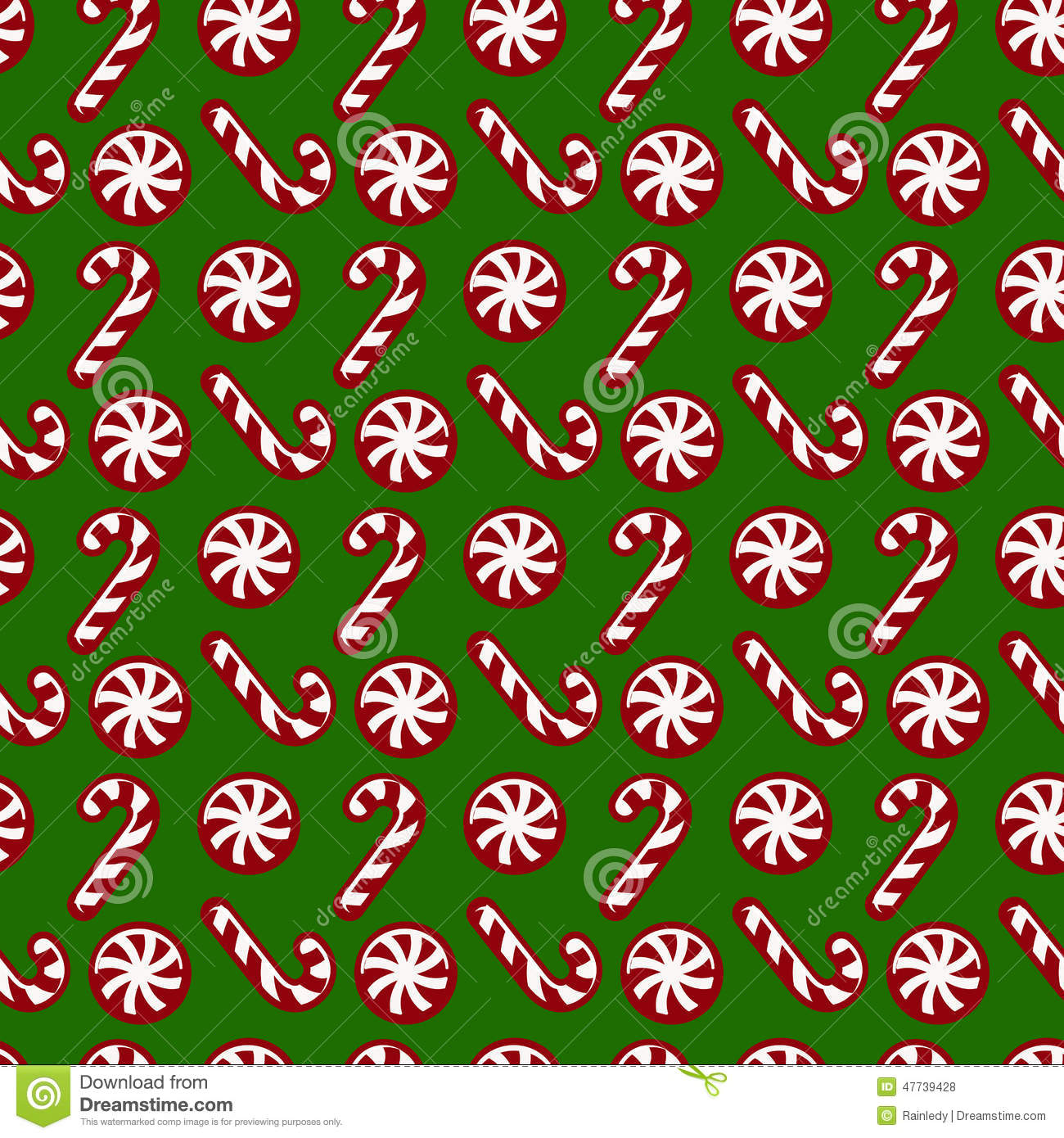 Christmas Pattern With Candy Canes Vector Seamless