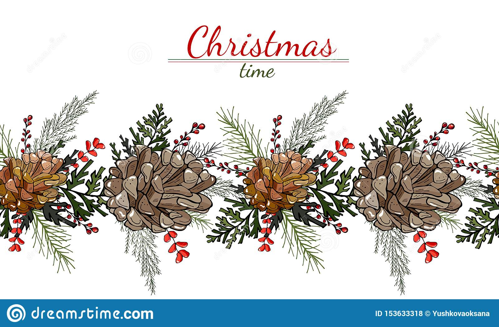 Christmas pattern of cones, leaves and berries on a white background