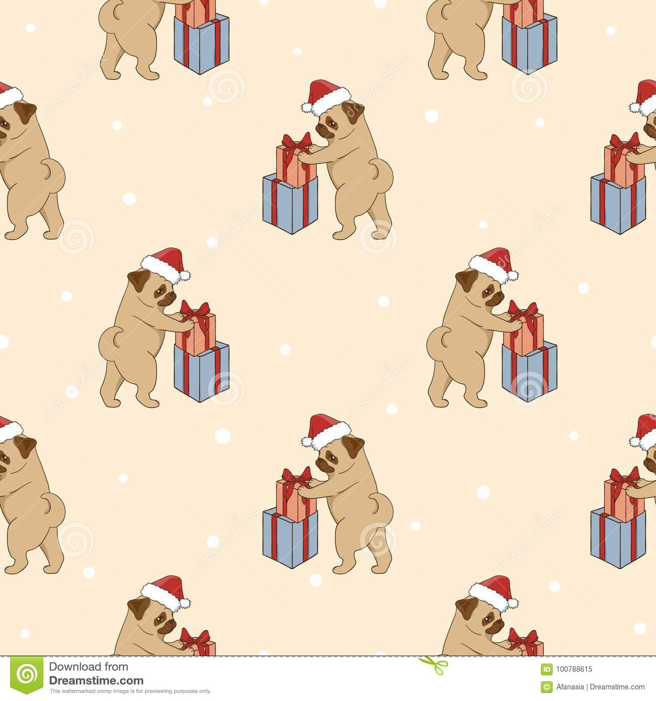 Christmas pattern with cute pugs and gifts.