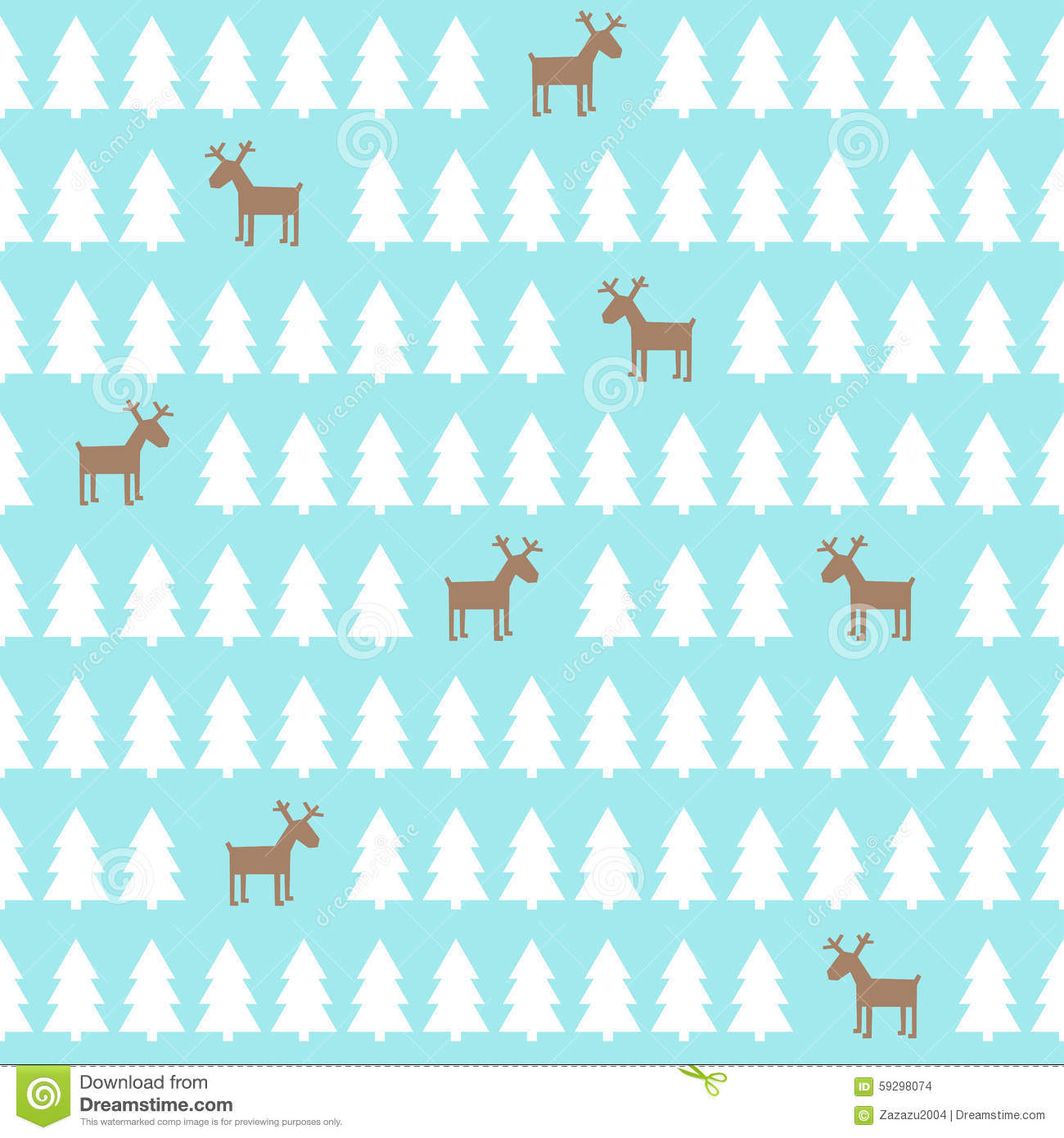 christmas pattern deer xmas trees happy new year background