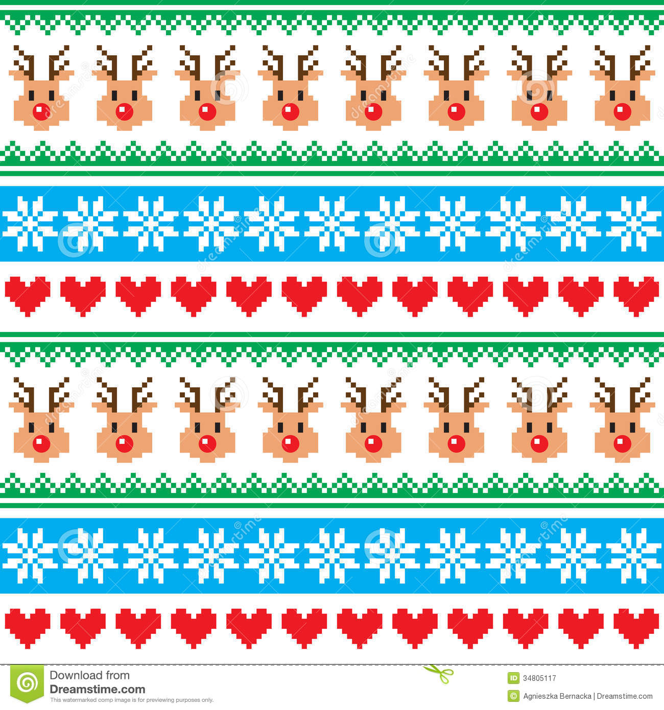 Knitting Pattern Christmas Jumper Reindeer : Christmas Pattern With Reindeer Pattern - Scandynavian Sweater Style Royalty ...