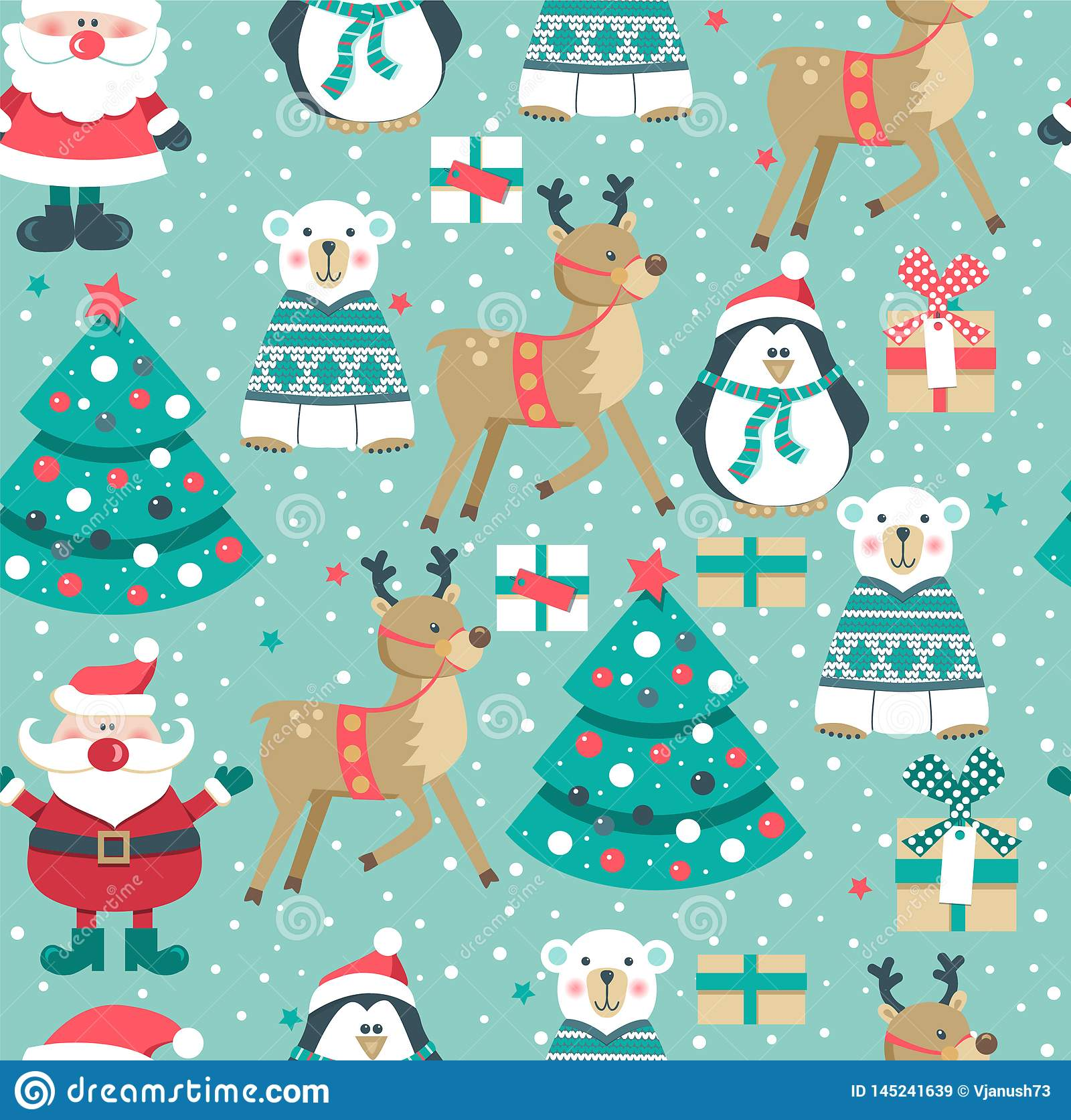 Christmas pattern with Santa, tree,boxes,  polar bear. snowman, deer and penguin.,