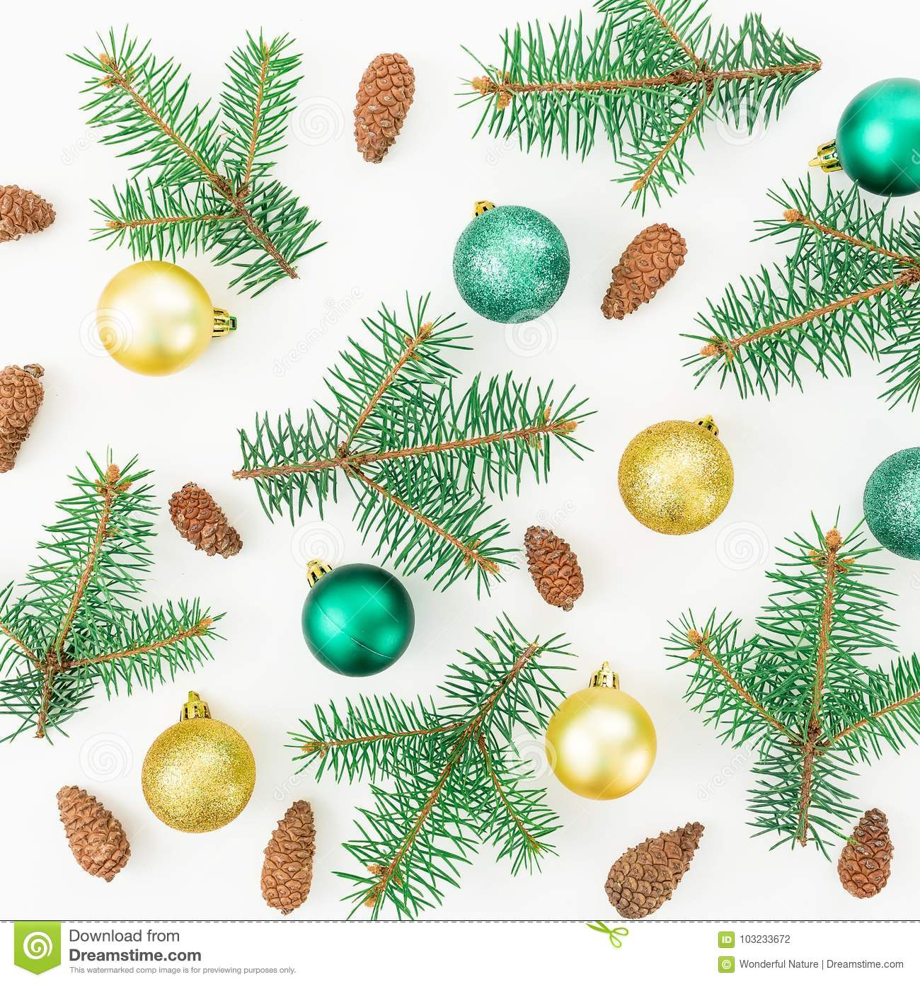 Christmas pattern of winter trees, pine cones and Christmas balls on white background. New year composition. Flat lay, top view