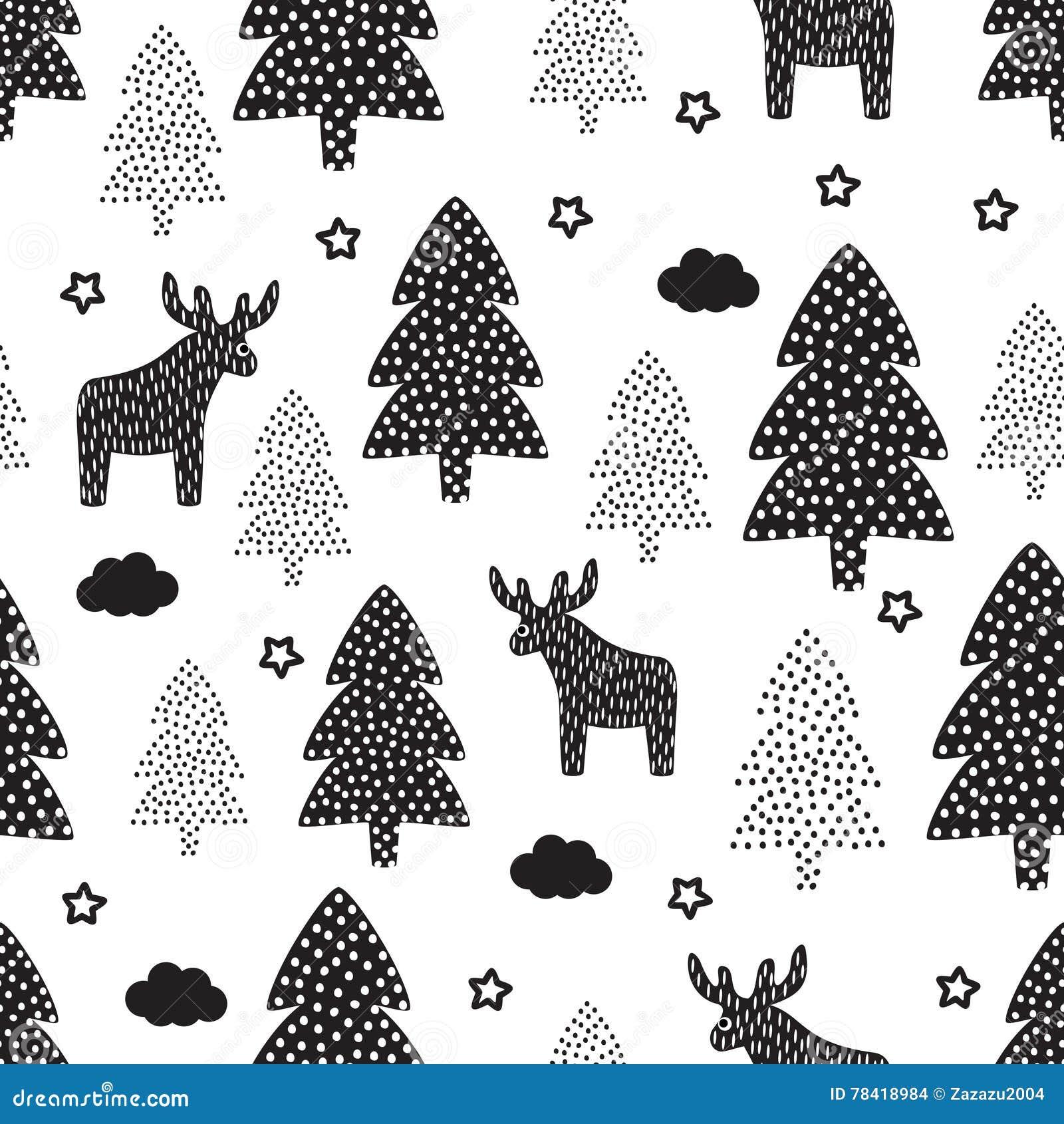 Christmas Pattern Xmas Trees Deers Stars Stock Vector