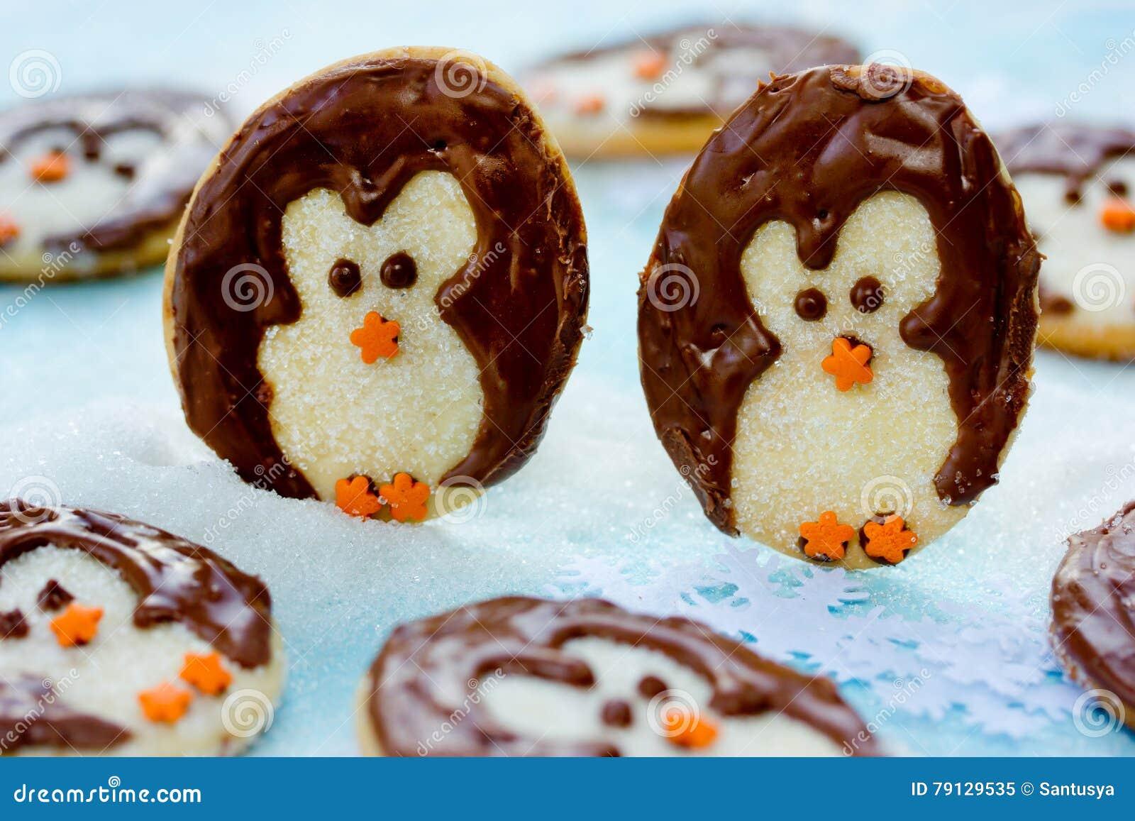 Christmas Penguin Cookies Sweet Treats For Kid Stock Image Image