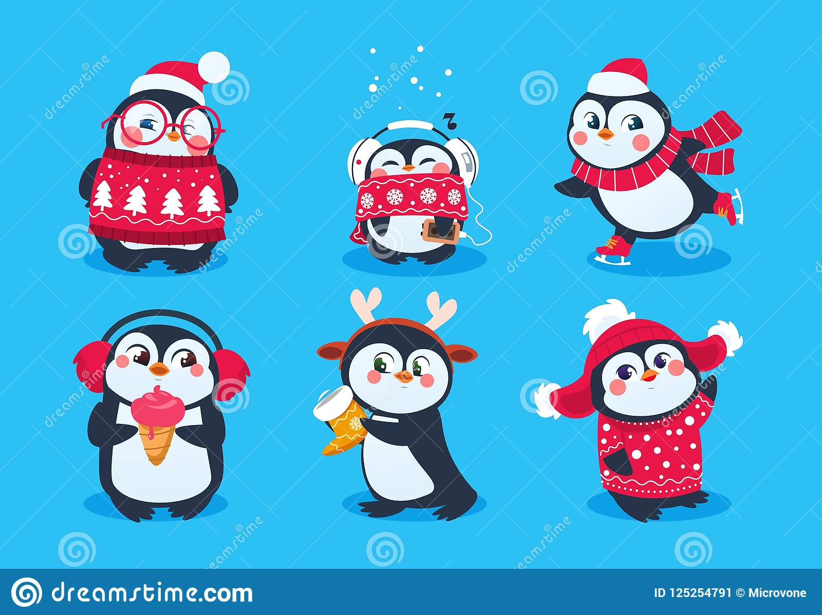 Christmas penguin. Funny snow animals, cute baby penguins cartoon characters in winter hat. Isolated vector set