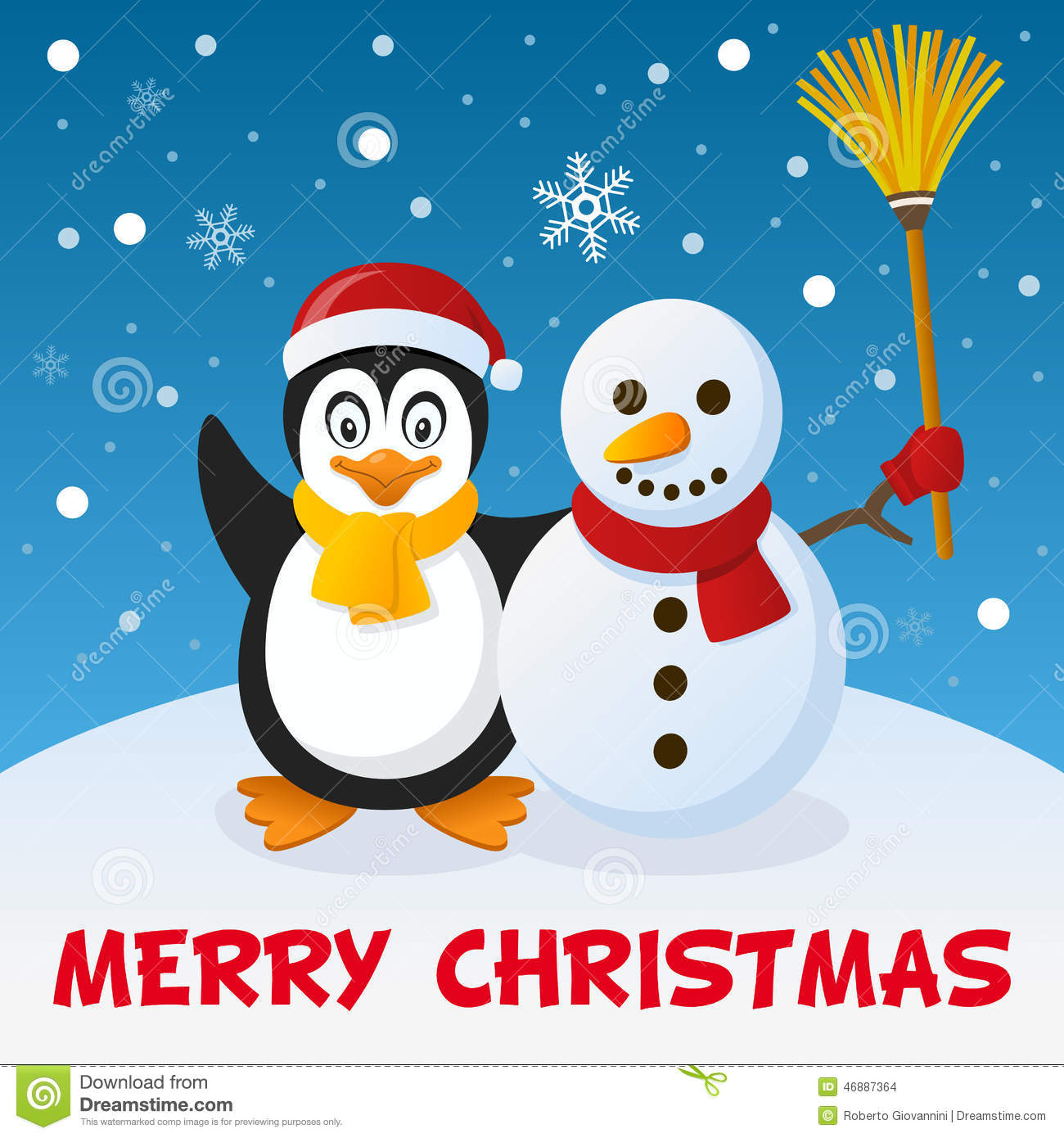 Christmas penguin and snowman stock vector image 46887364 for Penguin christmas cards homemade
