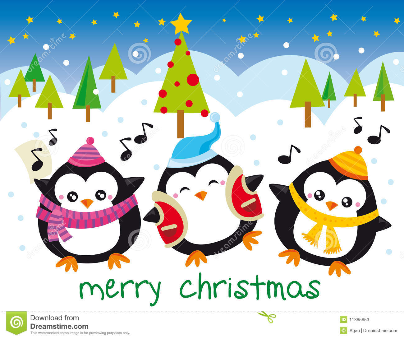 christmas penguins illustration of tree penguins singing at christmas night stock photos - Pictures For Christmas