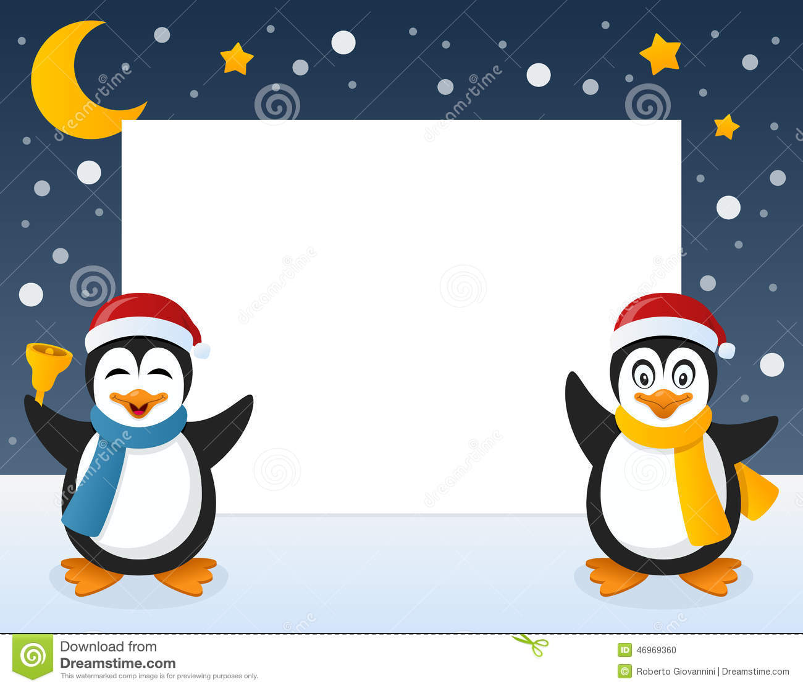 Christmas Penguins Horizontal Frame Stock Vector