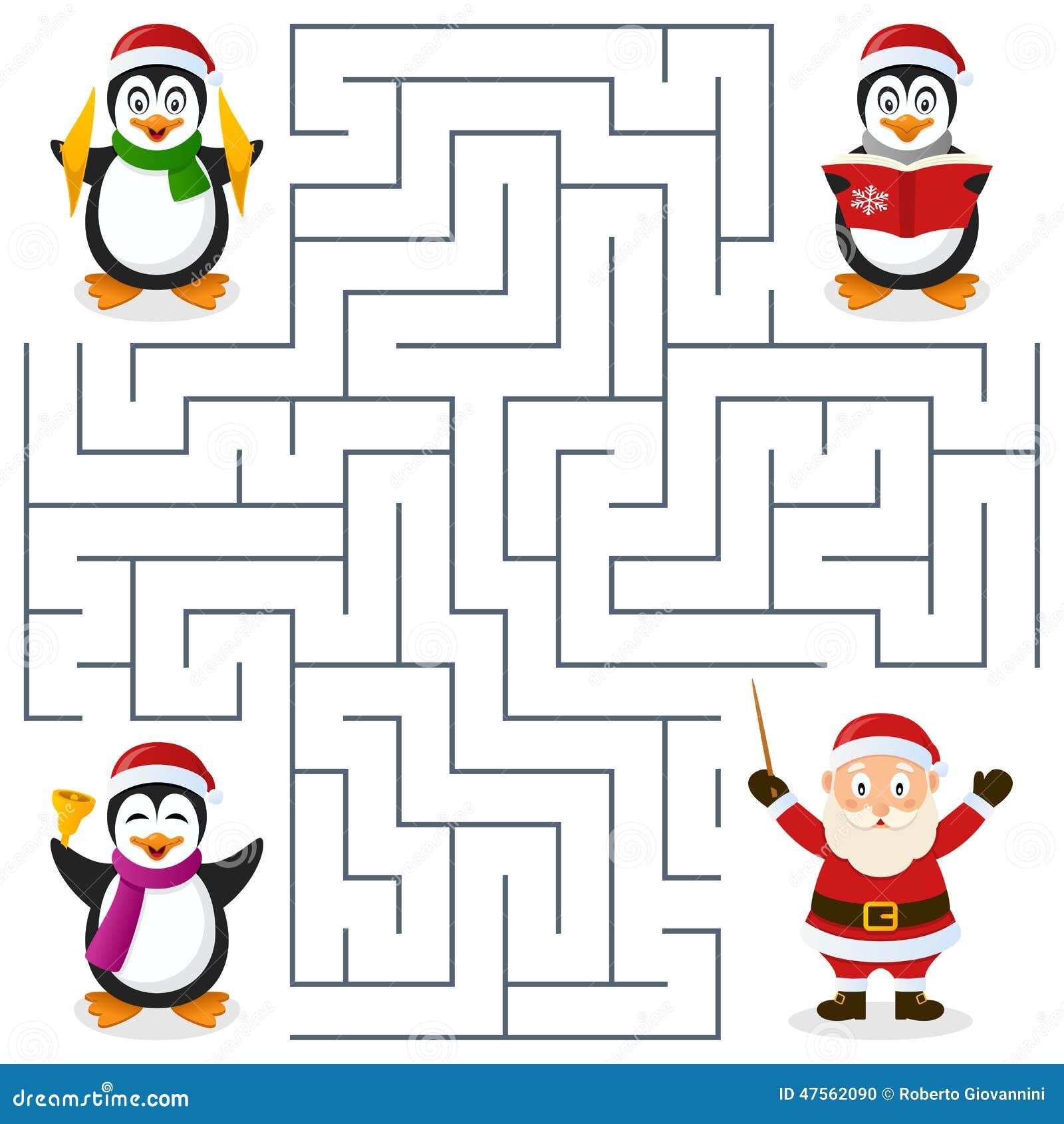 Christmas Penguins Maze For Kids Stock Vector Image 47562090