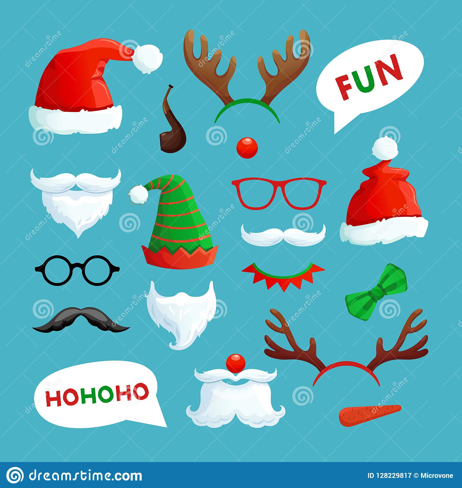 Christmas photo booth. Santa hats, mustache, beard and reindeer antlers xmas props vector collection