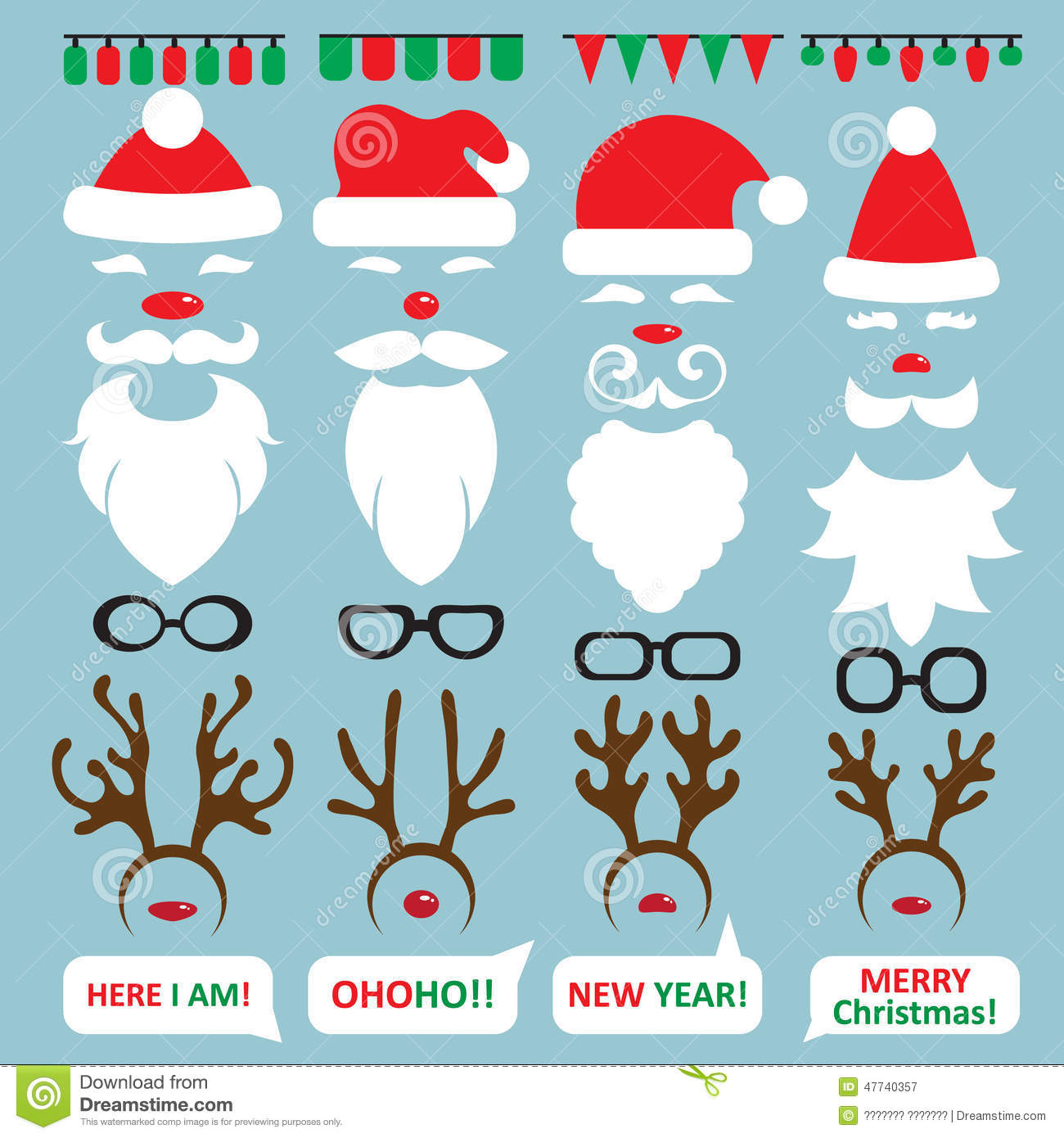 Christmas Photo Booth and scrapbooking vector set