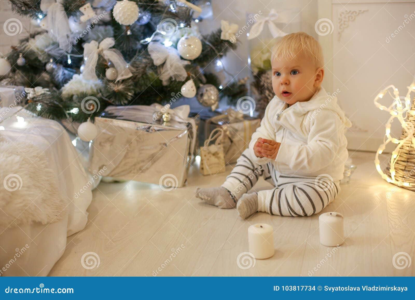 8a0a5b4b0 Cute 1 Year Old Baby Boy In Cozy Clothes
