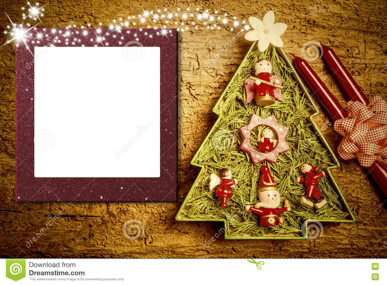Christmas Photo Frame Cards, Cheerful Tree Stock Photo - Image of ...