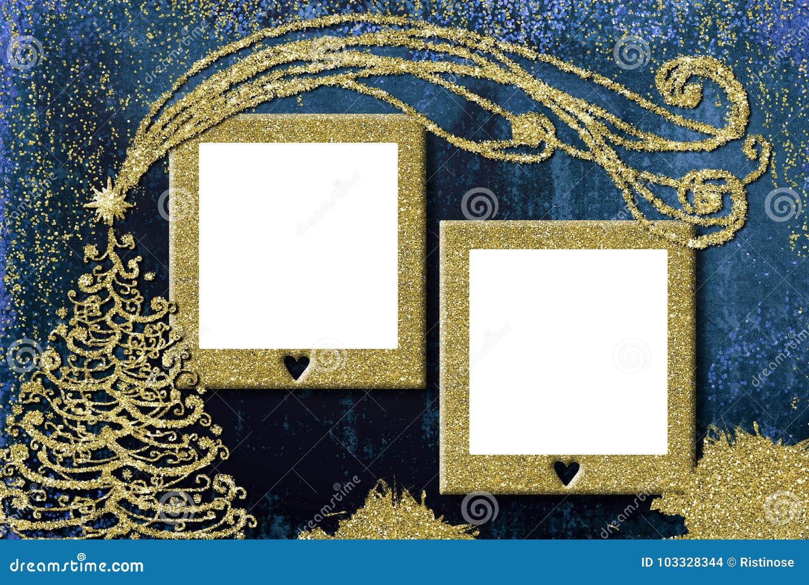 Christmas 2 Photo Frames Cards. Stock Photo - Image of blank, kids ...