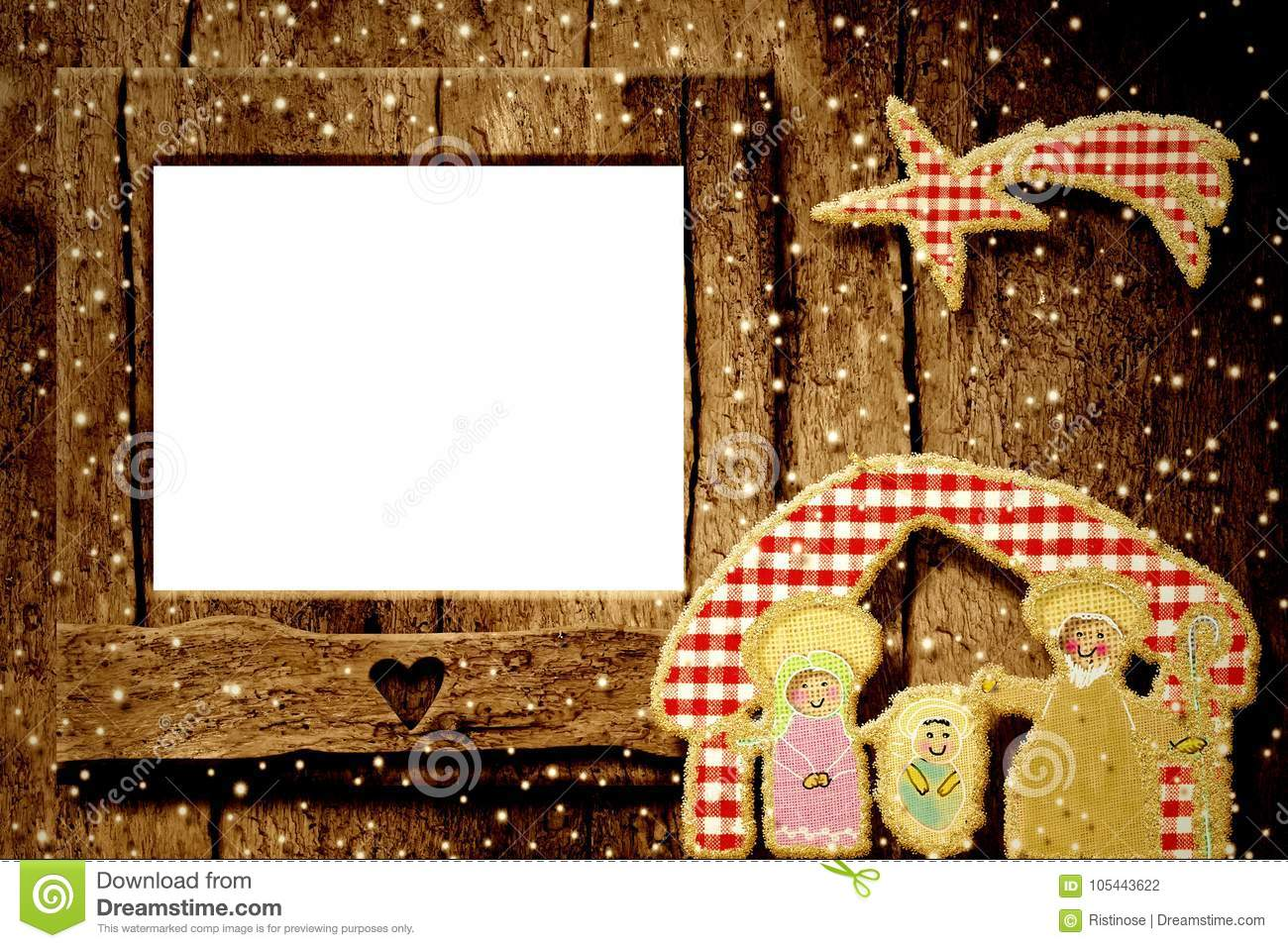Christmas Photo Frame Greetings Card Stock Photo Image Of Creche