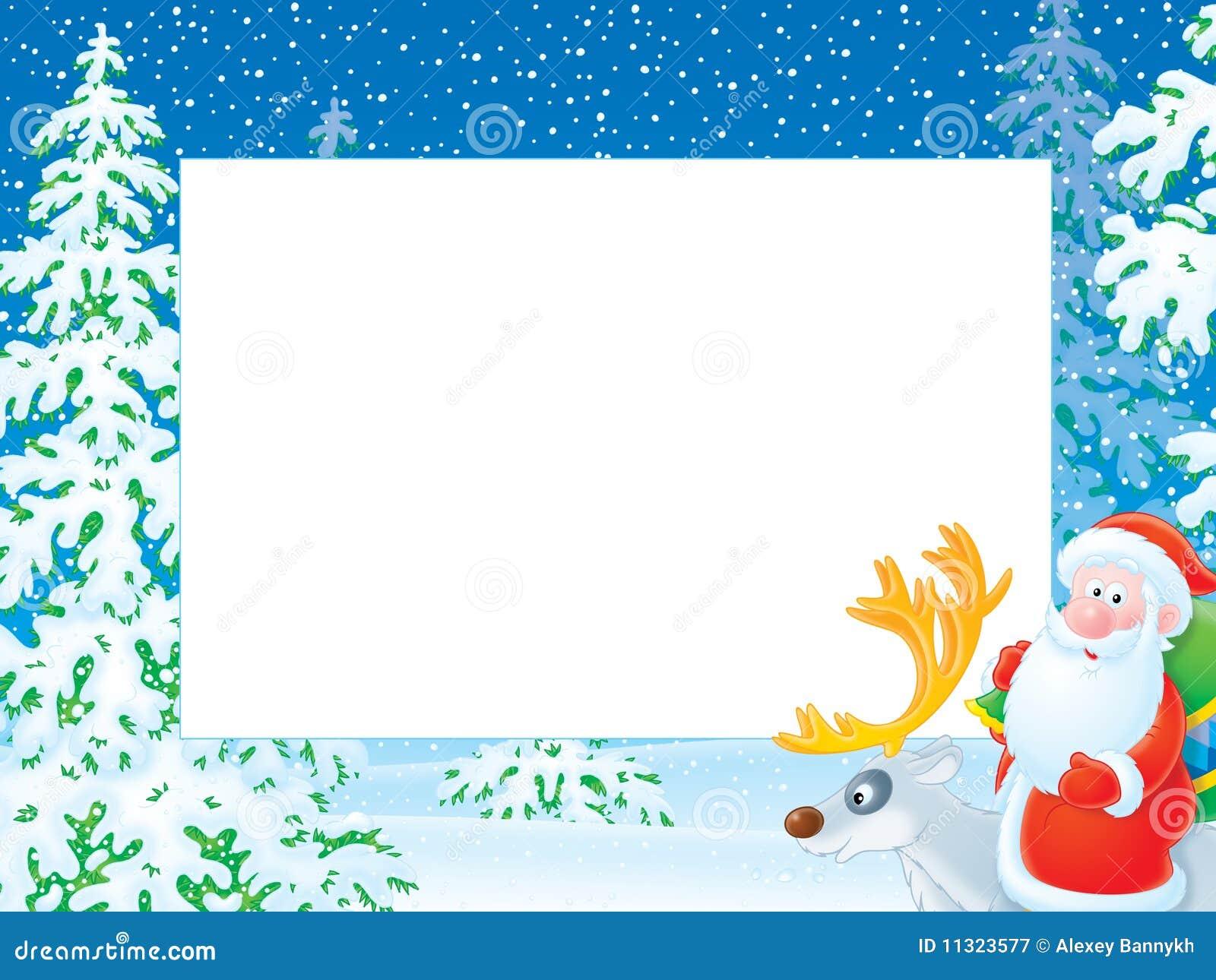 Christmas Photo Frame With Santa Claus Riding On R Stock ...