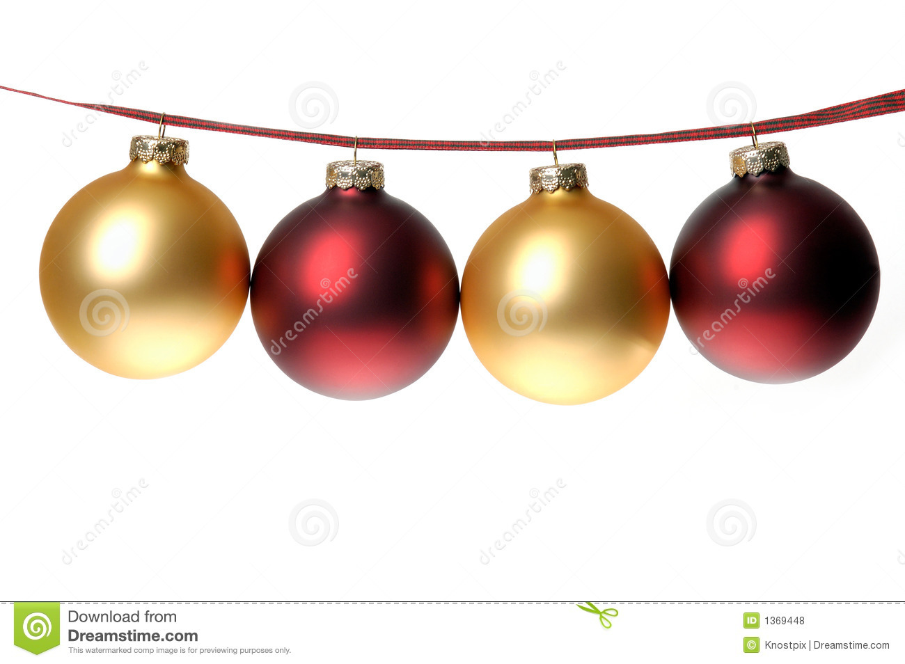 christmas photo of red and gold ornaments strung on plaid ribbon
