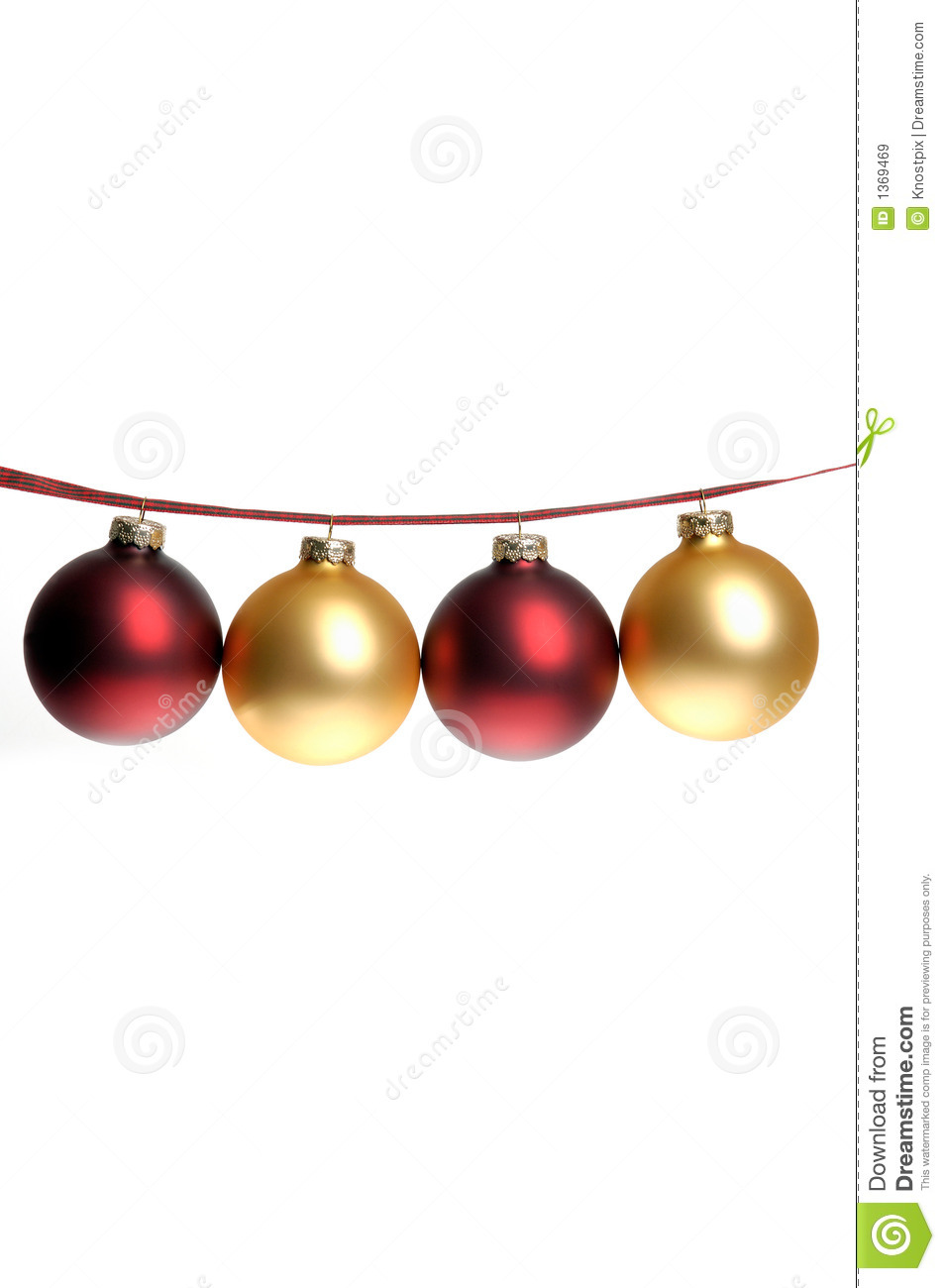 Gold and red ornaments - Christmas Photo Of Red And Gold Ornaments Strung On Plaid Ribbon