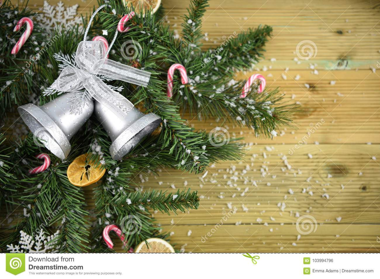 Christmas Photography Picture With Tree Branches And Silver Color Bell Decoration Candy Canes And Fruit All Sprinkled With Snow Stock Photo Image Of Color Natural 103994796