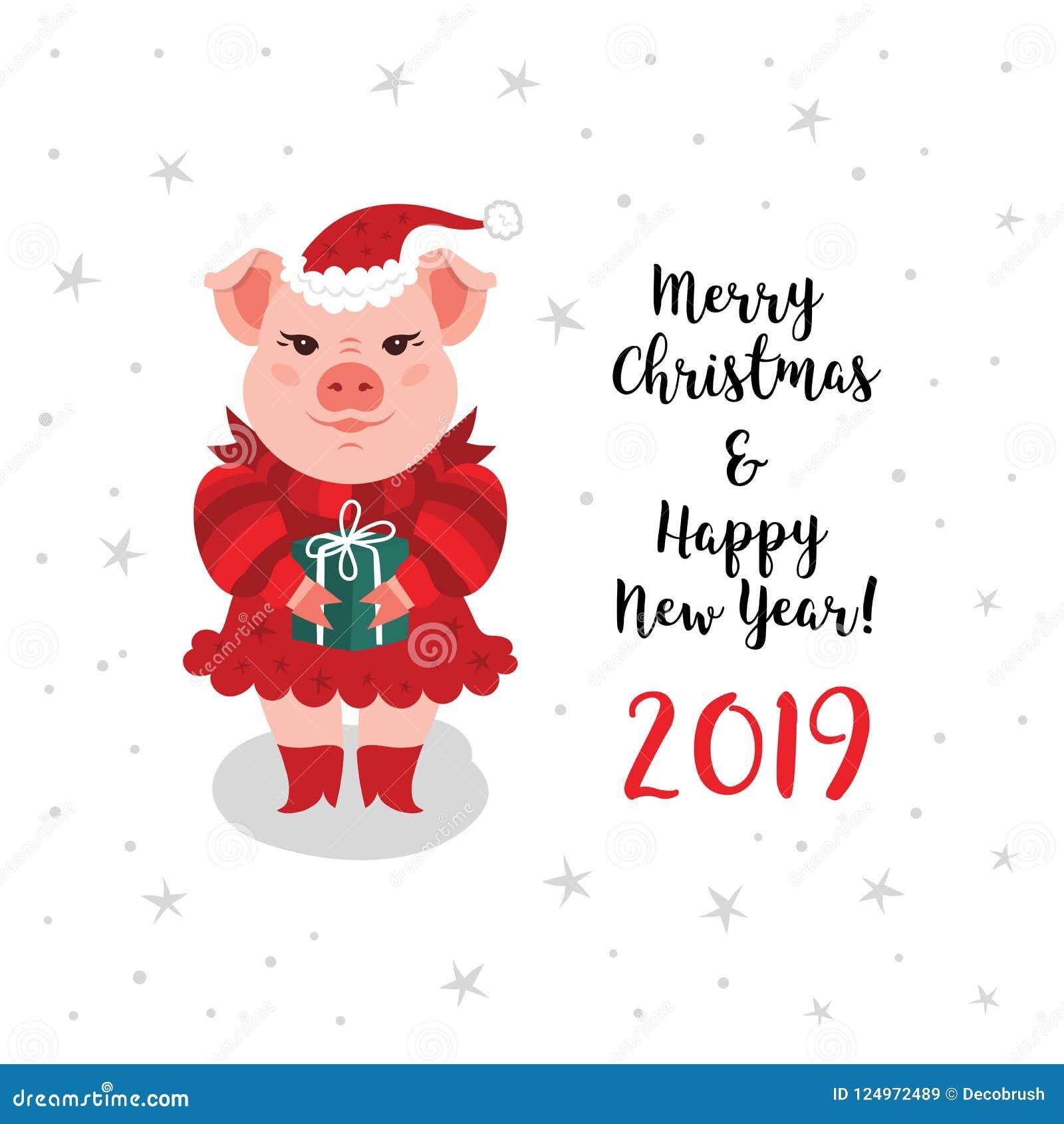 christmas pig greeting card merry christmas happy new year 2019 card a cartoon pig