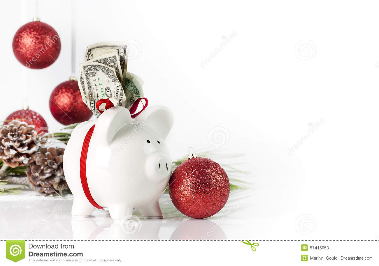 Christmas Piggy Bank stock image. Image of white, costs - 57415053