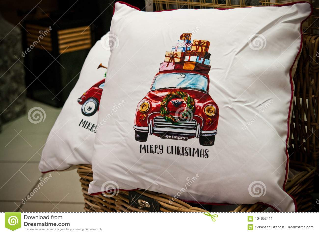Christmas Pillows Or Cushions For Sale Stock Image Image Of Home