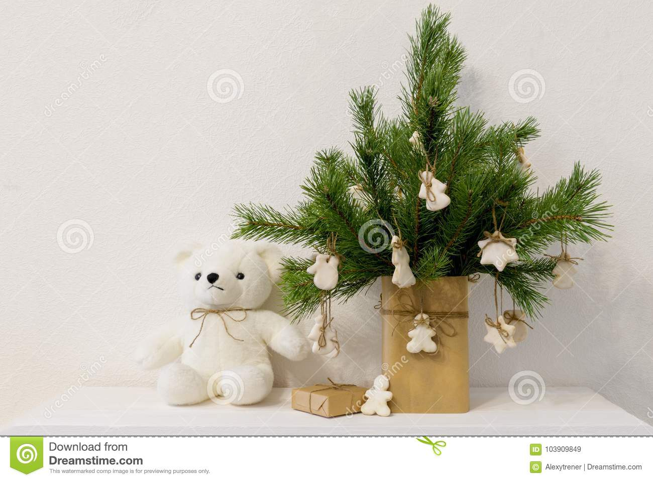 Christmas Pine Branch In Vase With Homemade Cookies White Bear