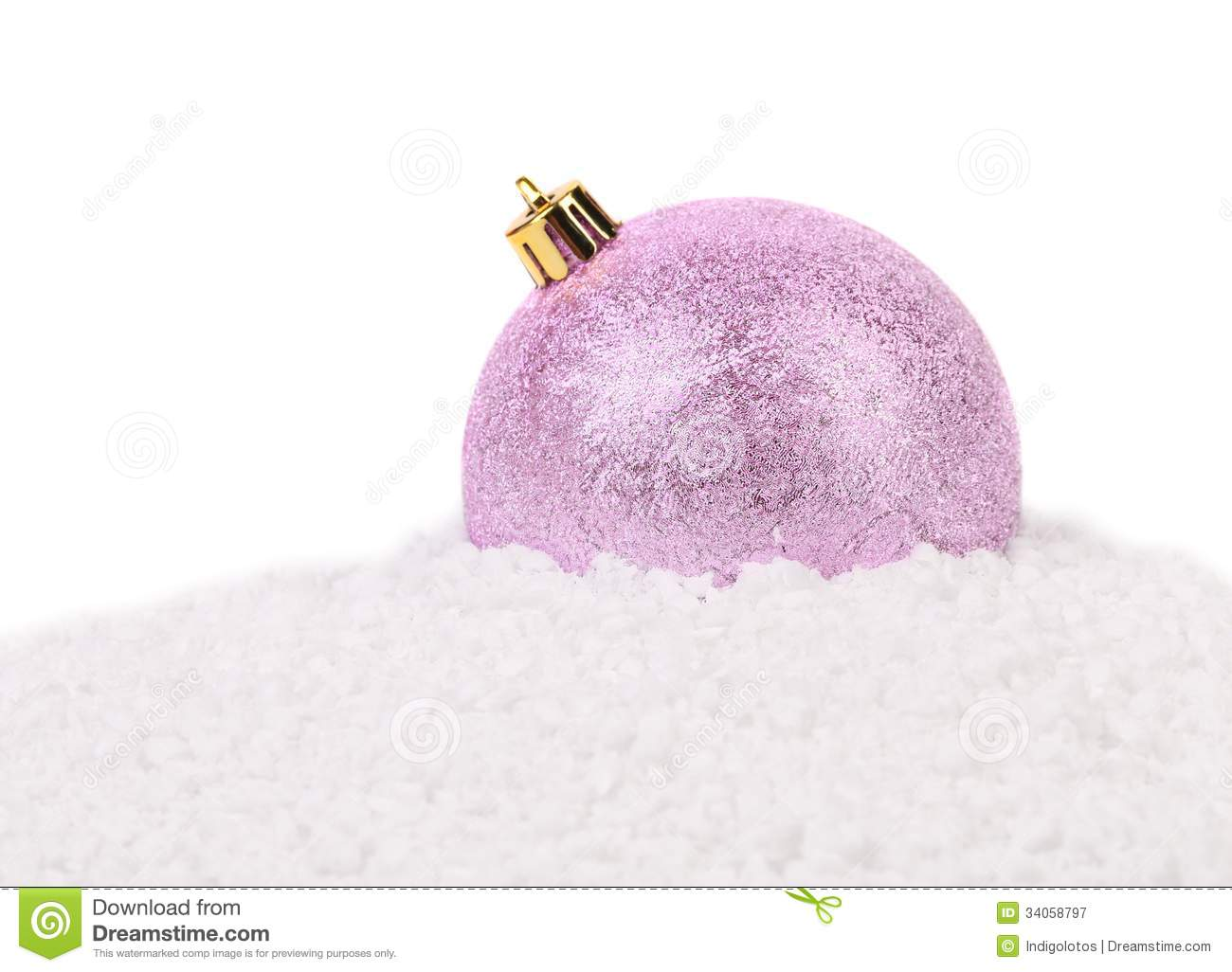Christmas Pink Ball On A Snow. Royalty Free Stock Photography - Image ...