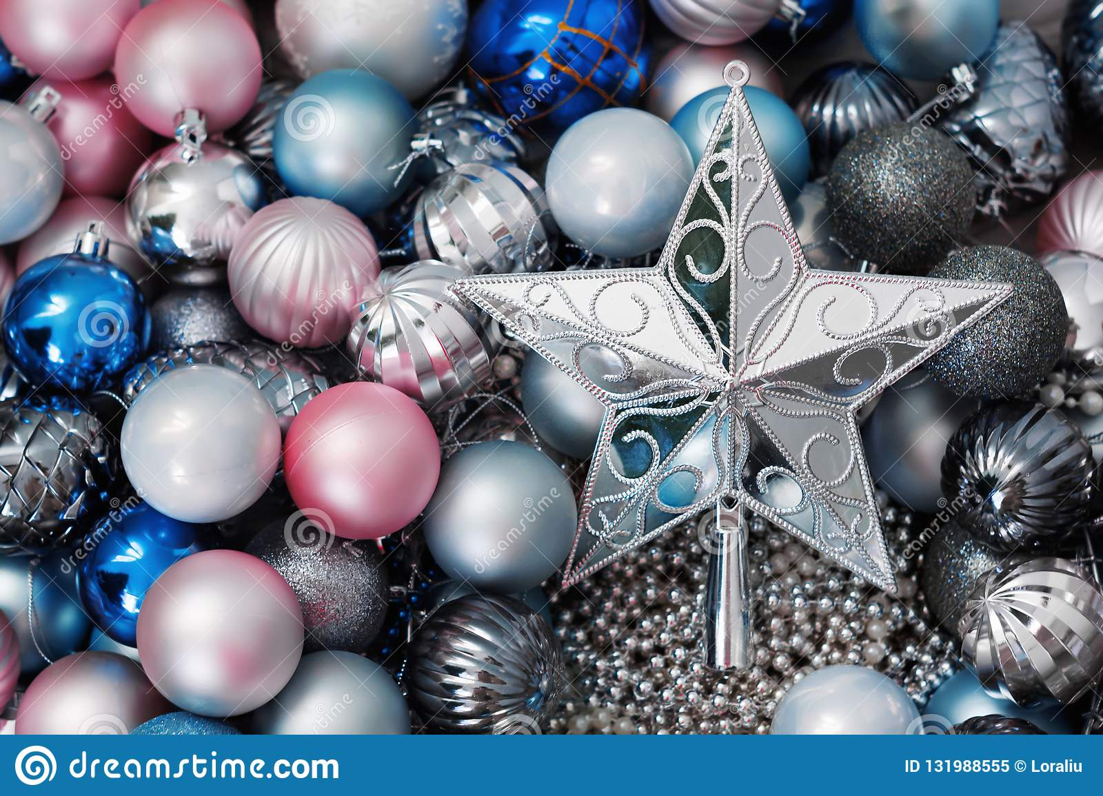 Christmas Pink Blue Balls And A Beautiful Silver Star Stock Image Image Of Market Ornament 131988555