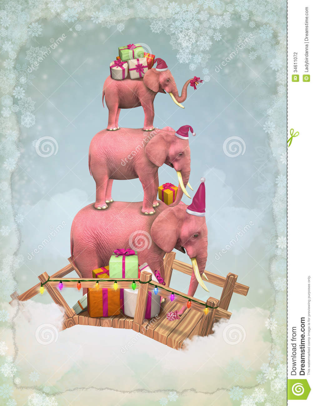 Christmas Pink Elephants In The Sky With Gifts Stock
