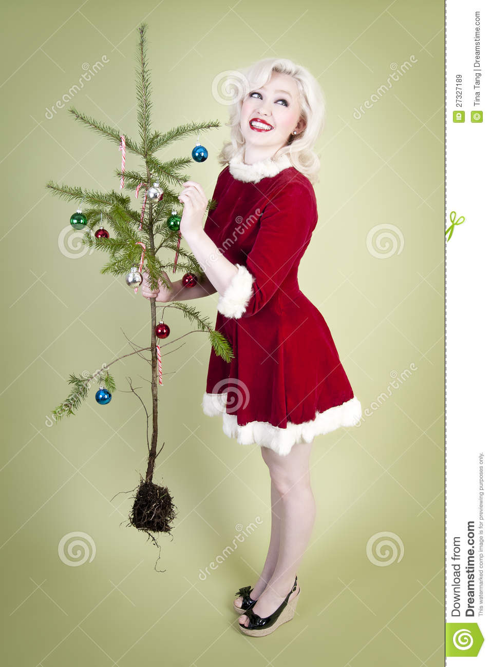 Christmas Pinup Girl Royalty Free Stock Images - Image: 27327189